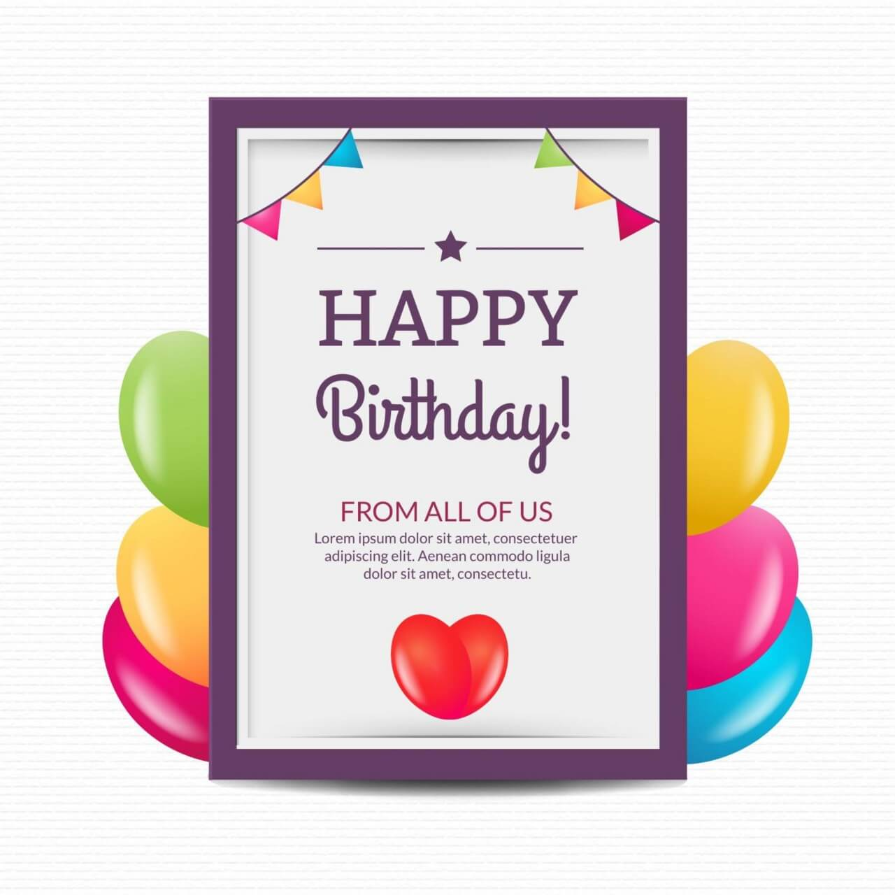 """Free vector """"Happy birthday poster with balloons"""""""