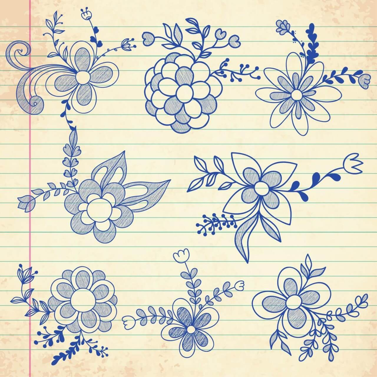 """Free vector """"Set of doodle flowers"""""""