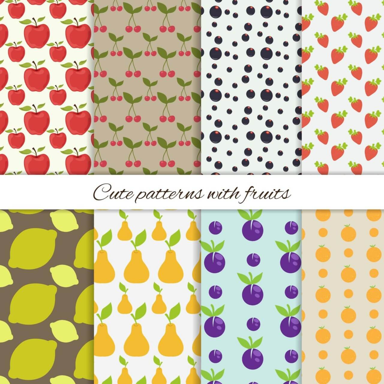 "Free vector ""Set of cute patterns with fruits"""