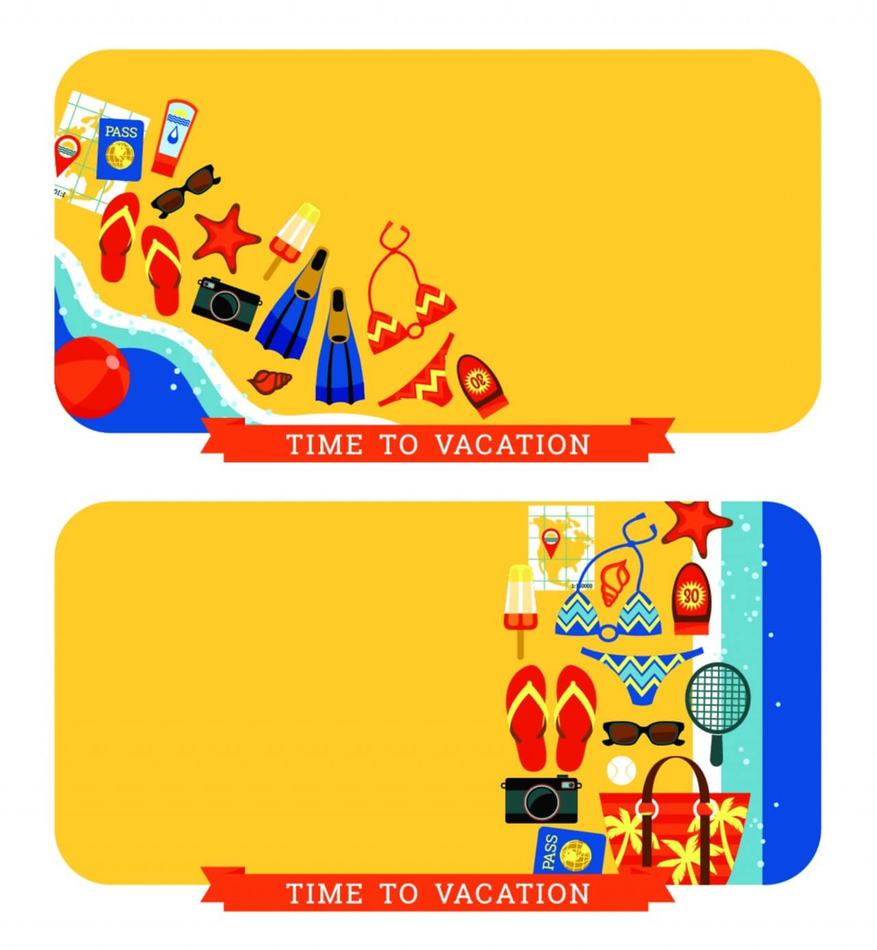 "Free vector ""Vector modern flat design illustration of traditional summer vacation."""