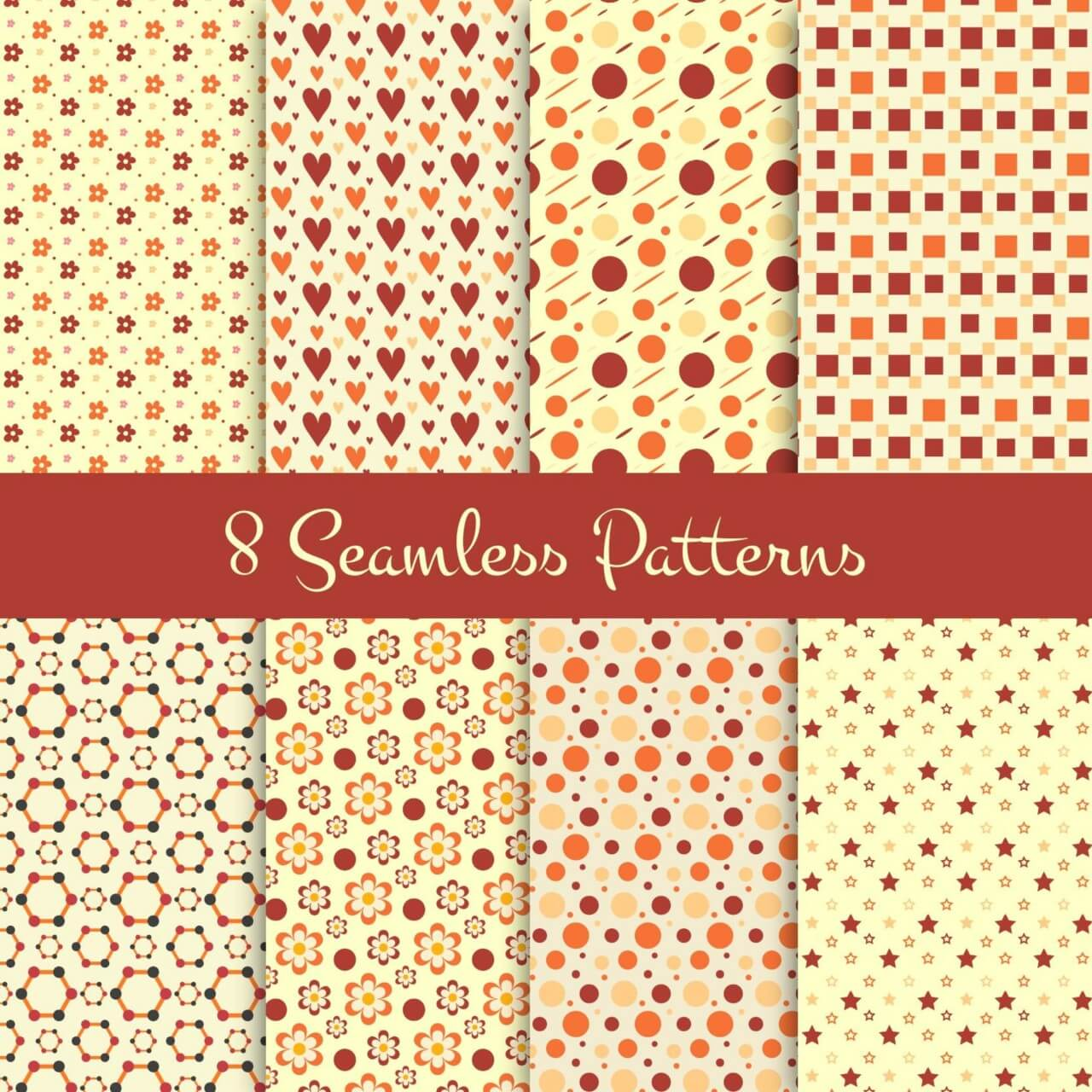 "Free vector ""8 Seamless Patterns"""