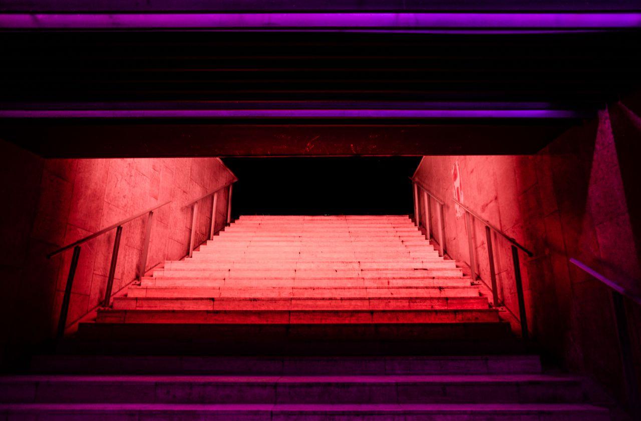 """Free photo """"Illuminated stairs"""""""