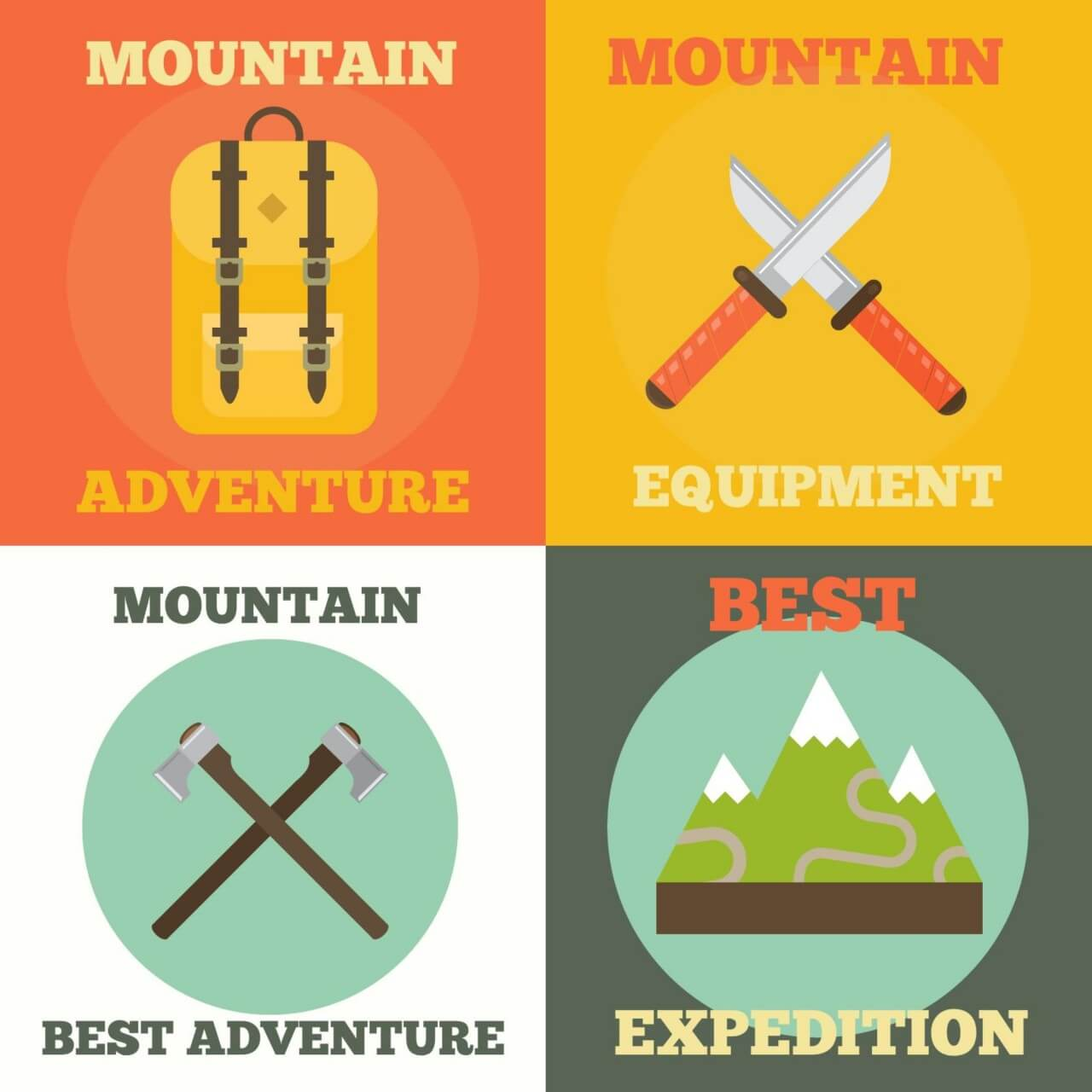 "Free vector ""Mountain Adventure Icons"""