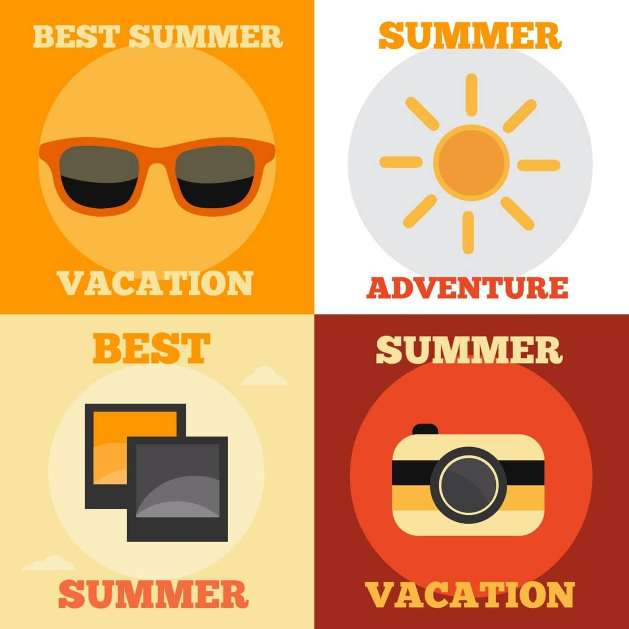 """Free vector """"Summer Vacation Icons"""""""