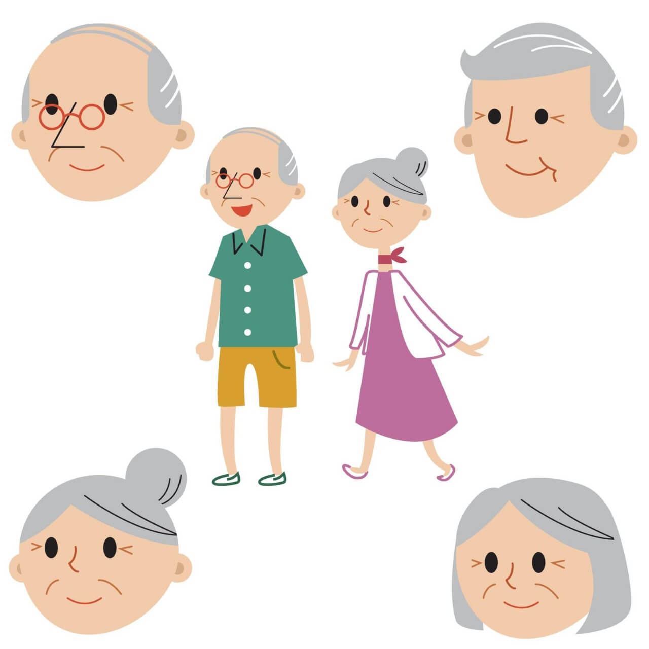 "Free vector ""Senior couple full body and faces"""