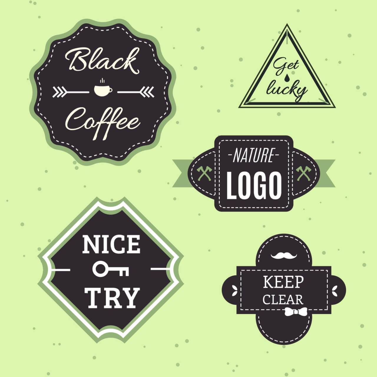 "Free vector ""Retro Vintage Icons or Logotypes set. Vector design elements, business signs, logos, identity, labels, badges and objects"""
