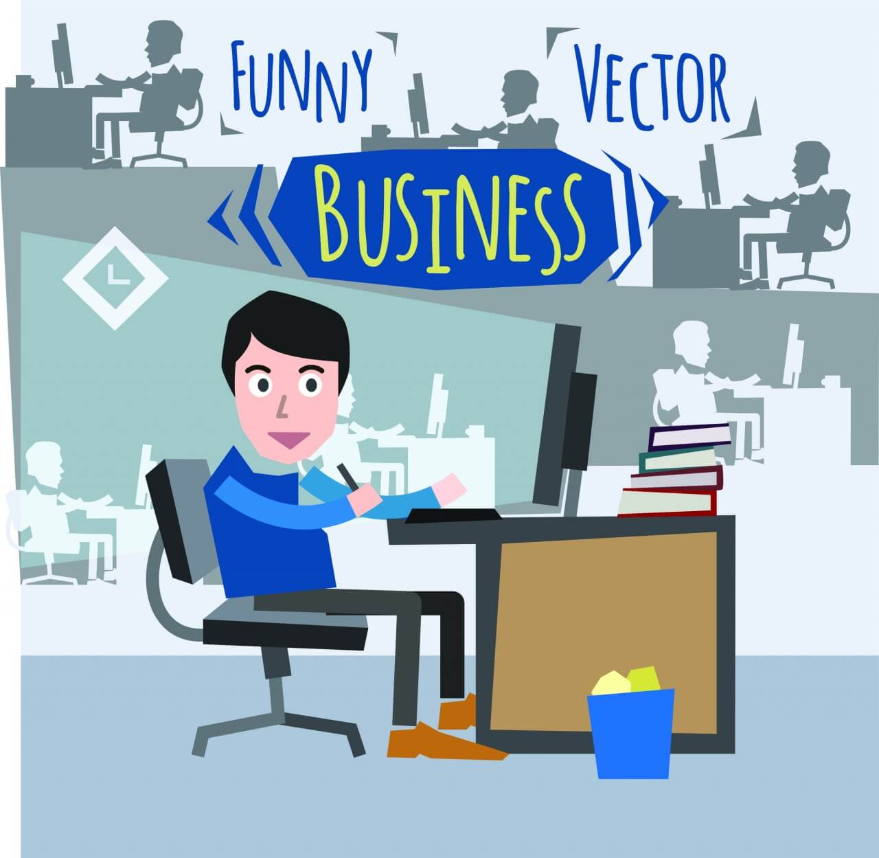 "Free vector ""Some businessman character sitting at computer. Free for vector design"""