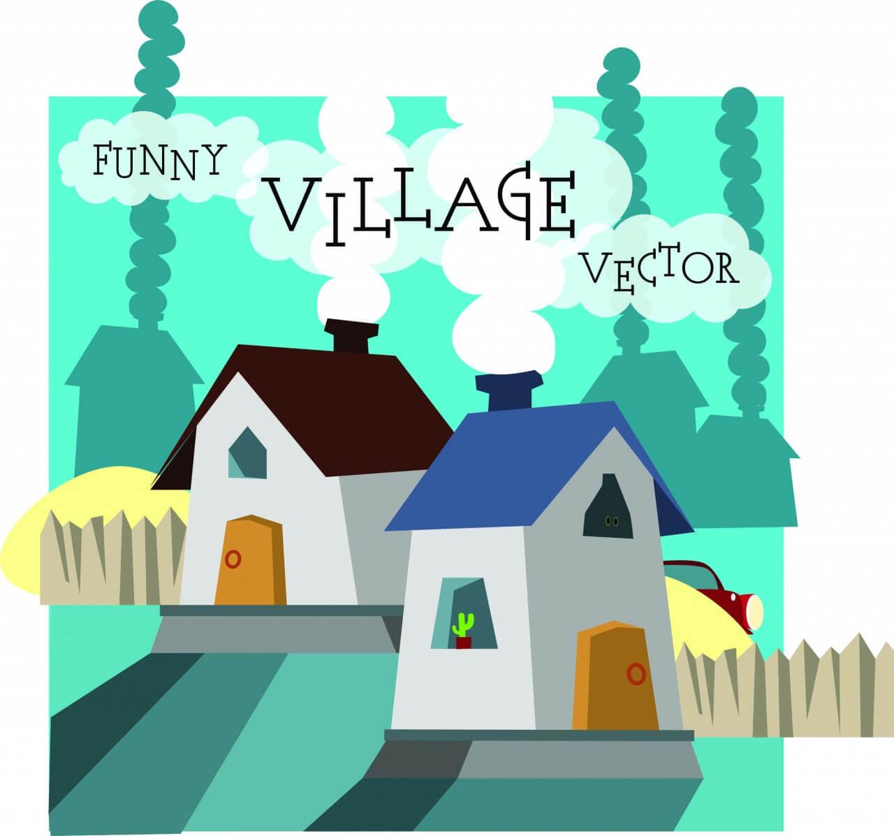 "Free vector ""Funny vector night village illustration. Free for vector design"""