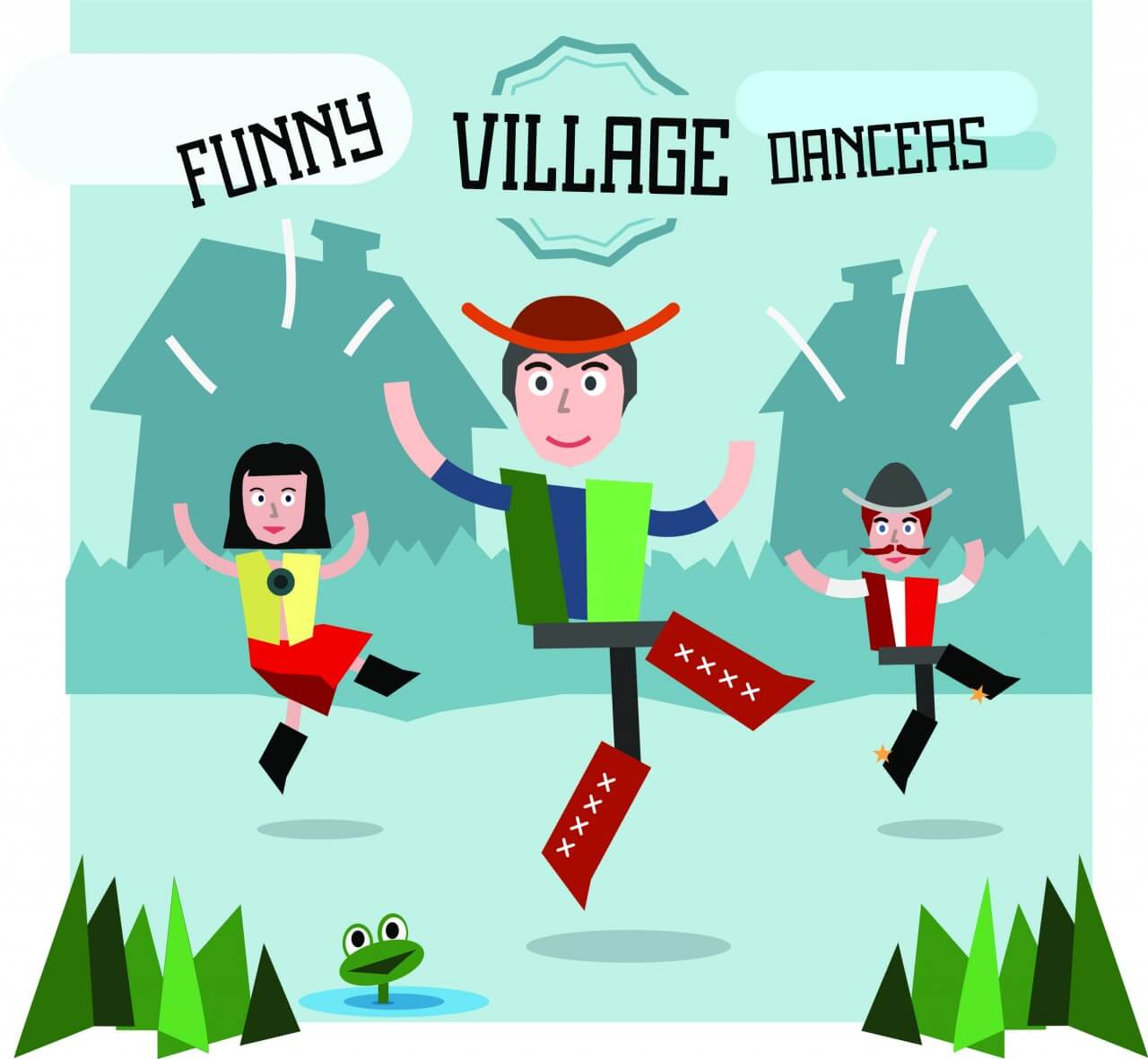 "Free vector ""Some village people dancing. Three different characters in similar pose. Free for vector design"""
