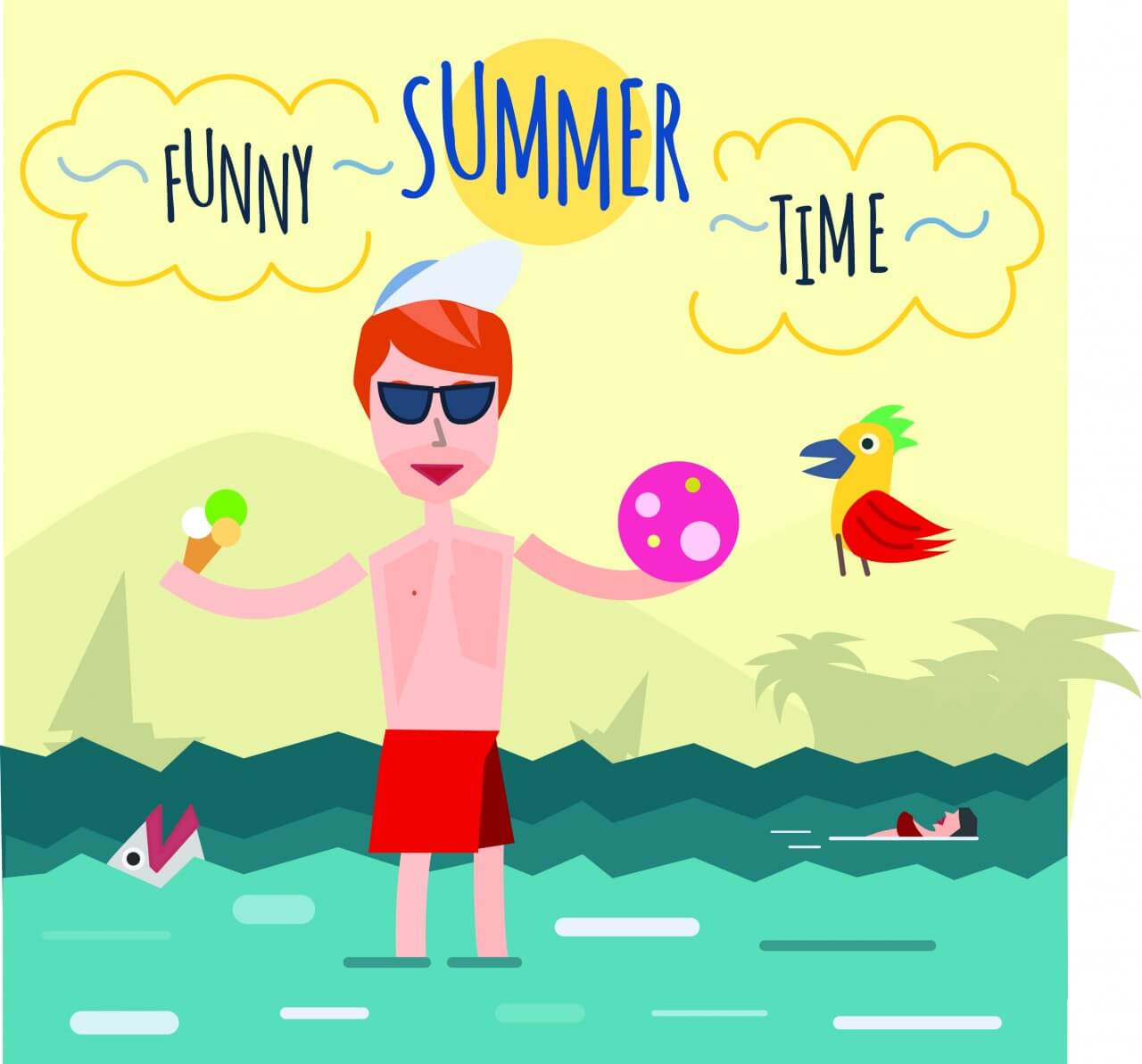 "Free vector ""Funny young man in sea. It's holiday time. Some object is ice-cream and ball. Free for vector design"""