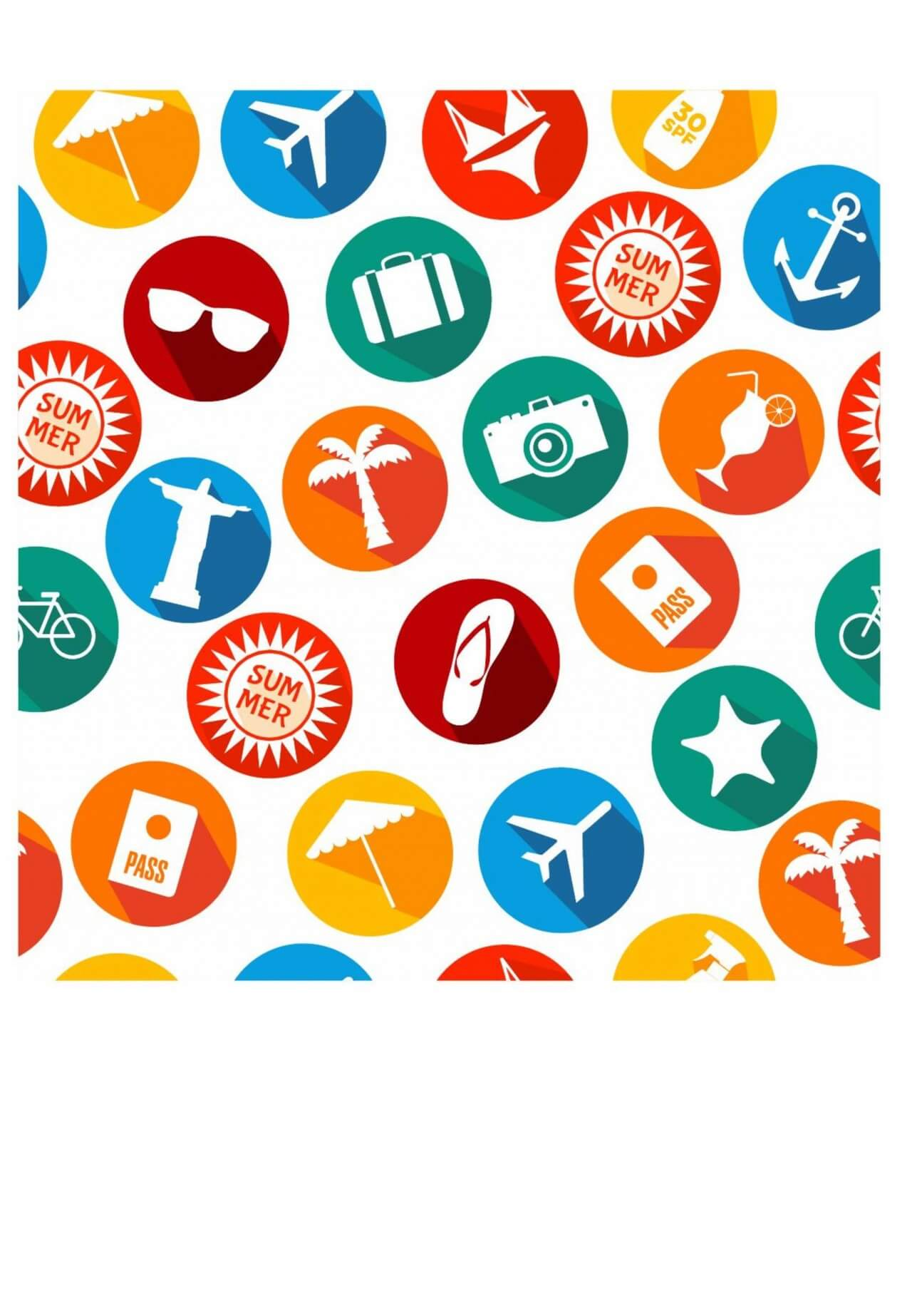"""Free vector """"Summer icons background of bright icons"""""""