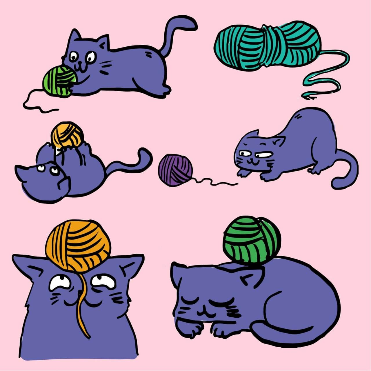 """Free vector """"Cat playing with ball of yarn"""""""