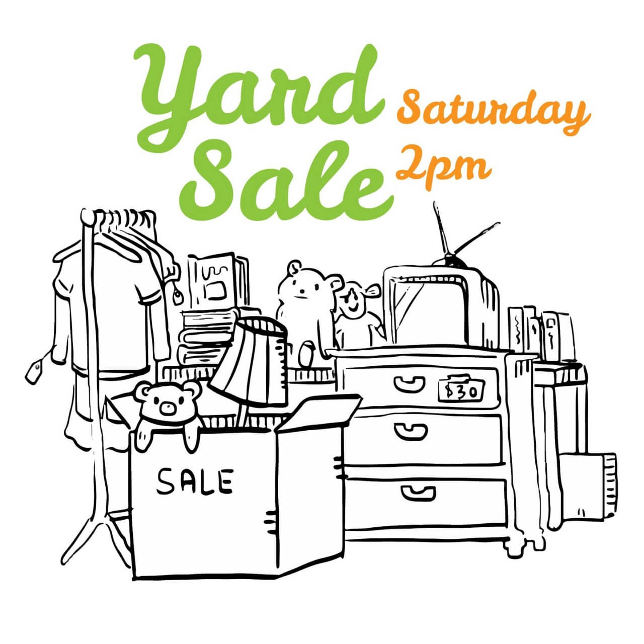 "Free vector ""Yard sale black and white flyer illustration"""