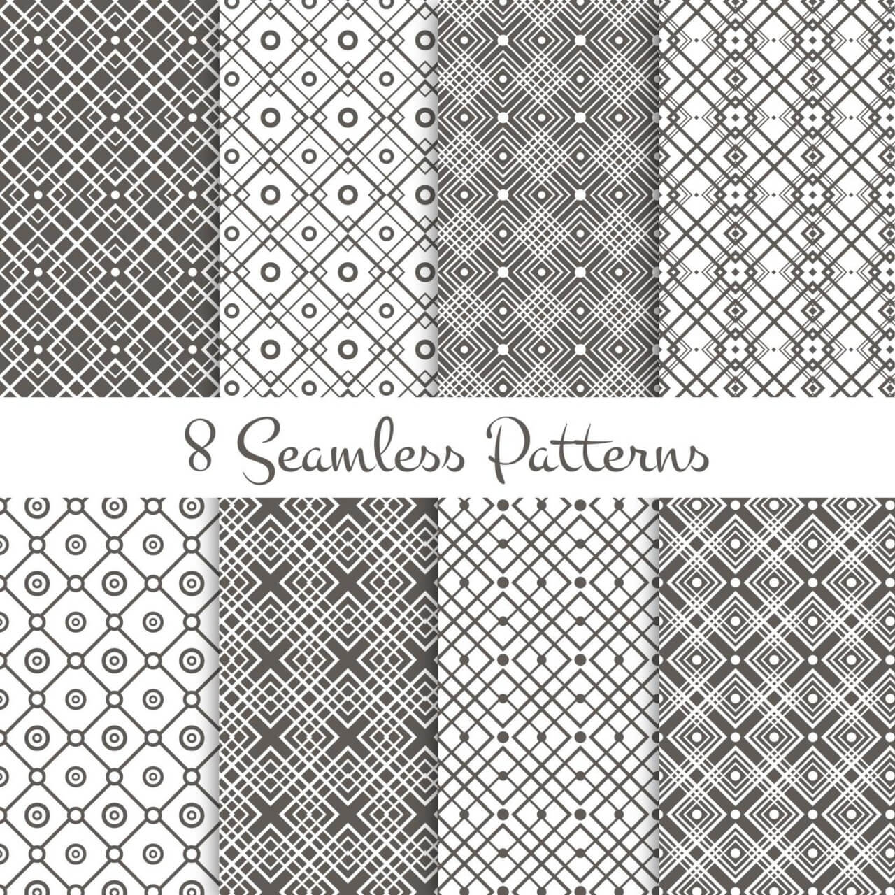 "Free vector ""Black and white geometrical patterns set"""