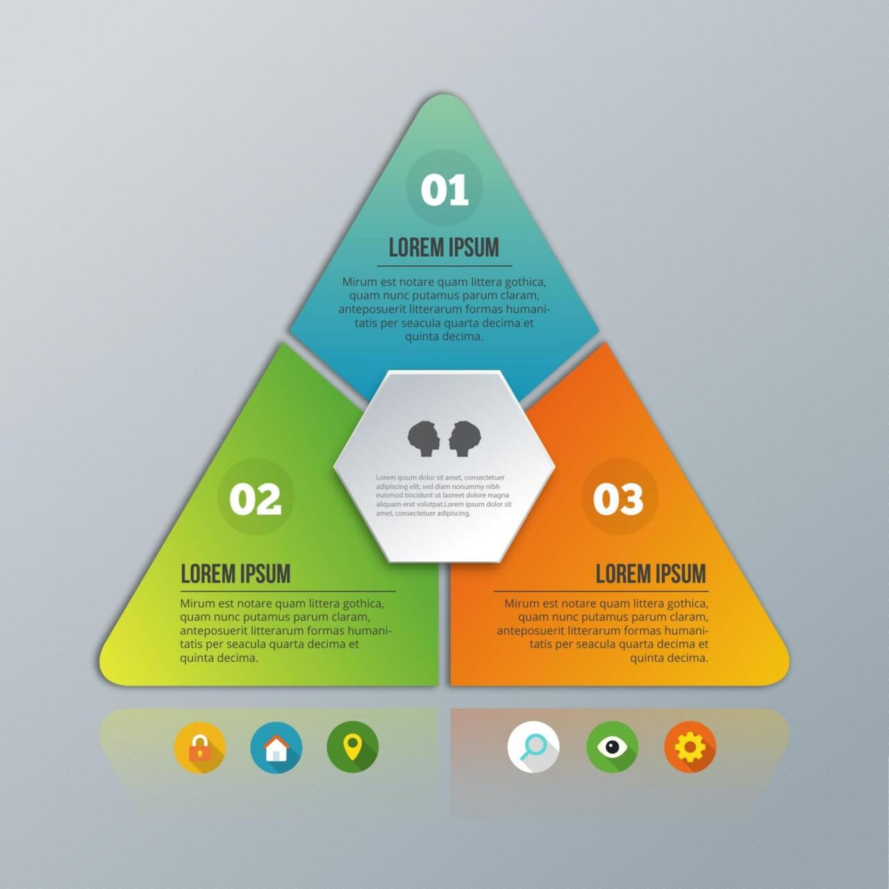 """Free vector """" Pyramid infographic on the grey background"""""""
