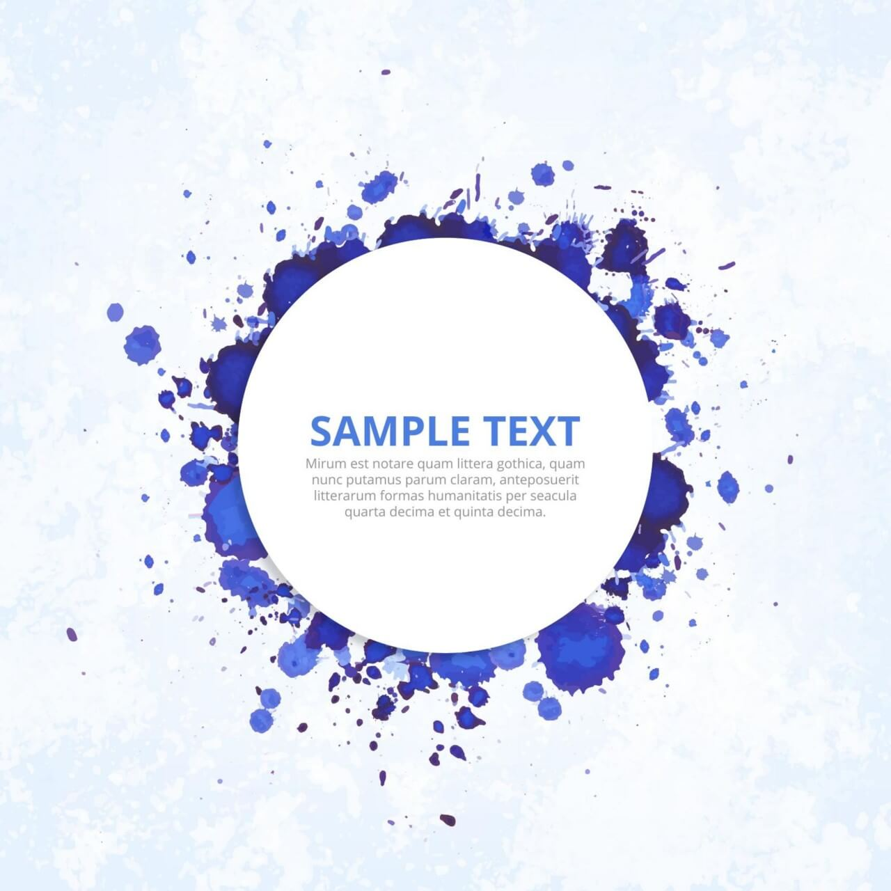 "Free vector ""Modern badge with blue ink splashes"""