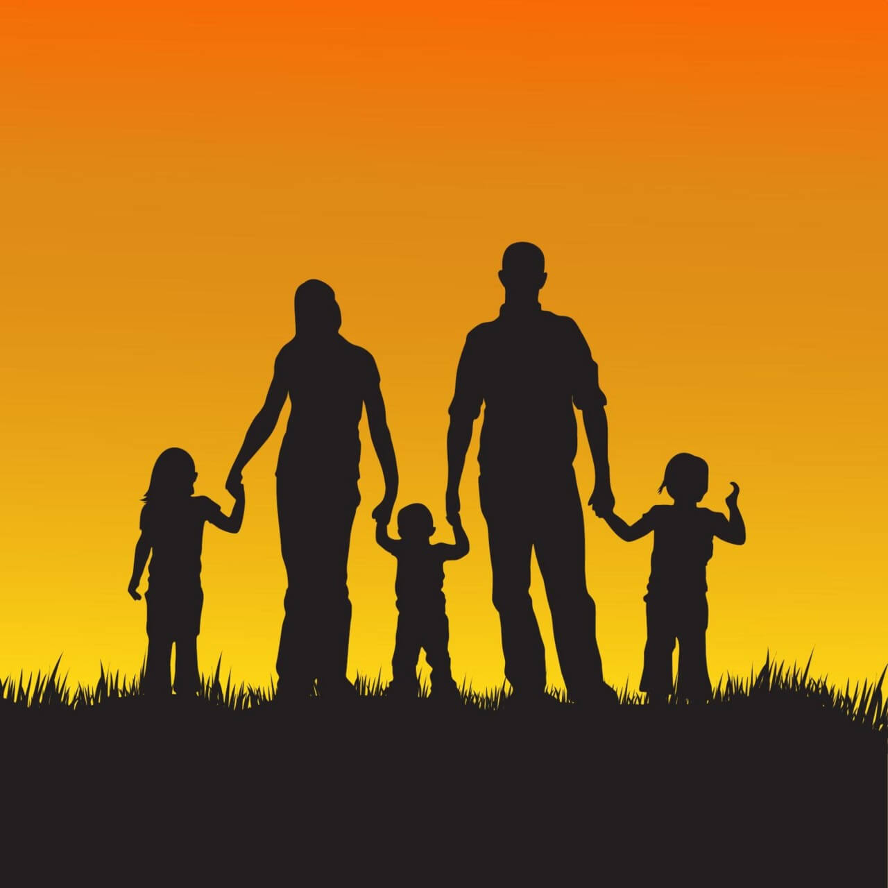 "Free vector ""Family with children silhouette illustration"""