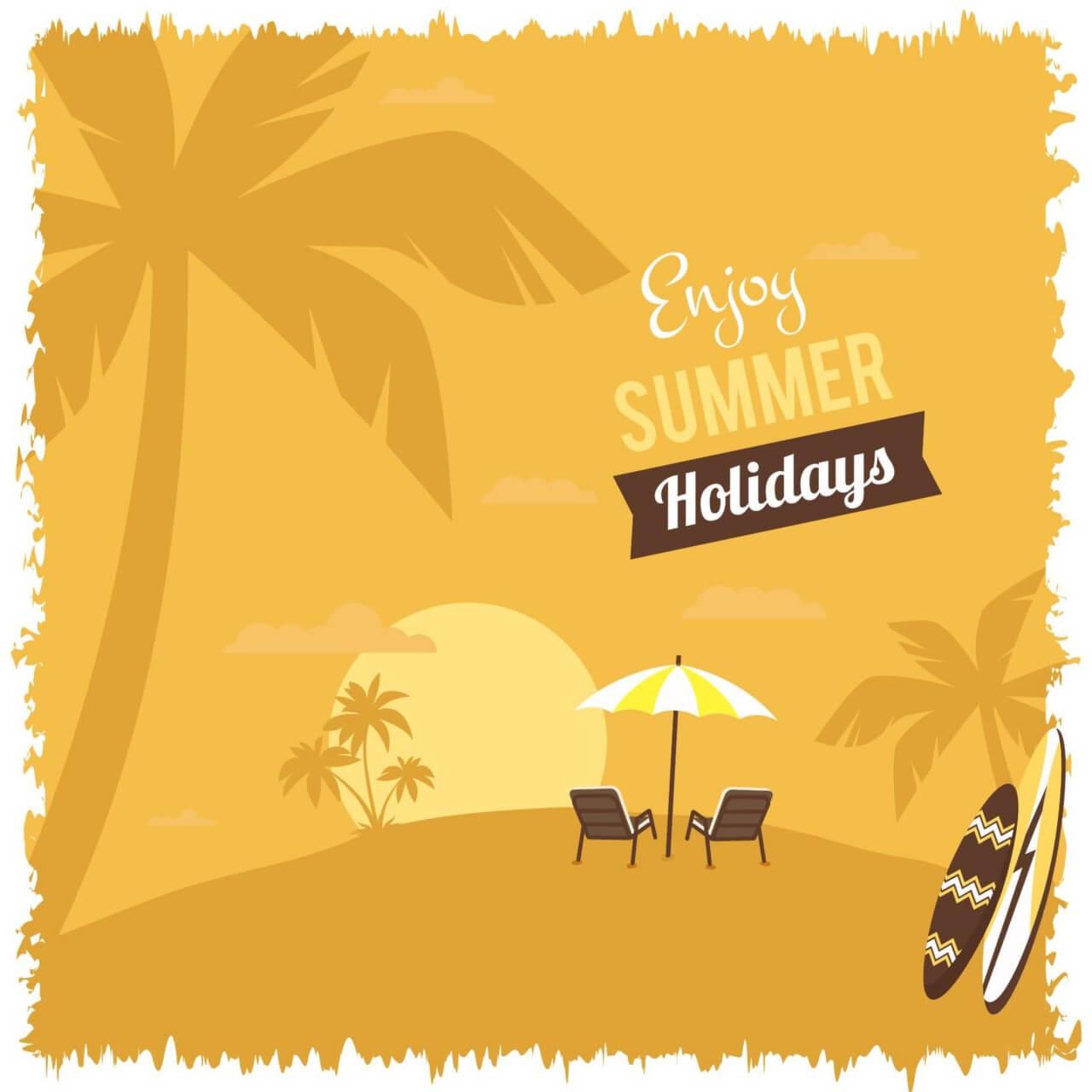 "Free vector ""Summer beach illustration"""
