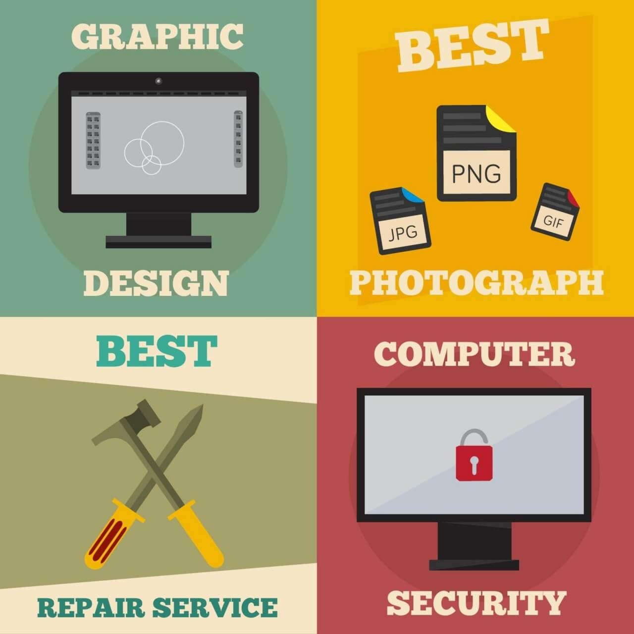 "Free vector ""Mini poster set of design, photography, repair, computer jobs"""
