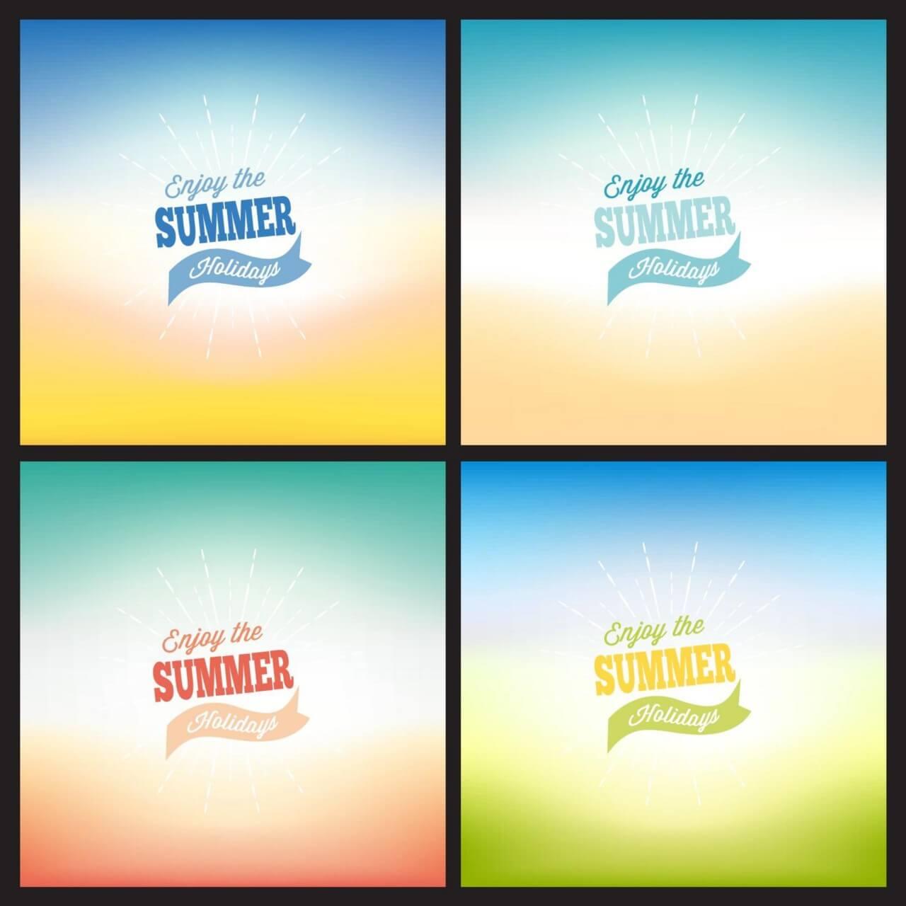 "Free vector ""Summer blurred backgrounds set"""