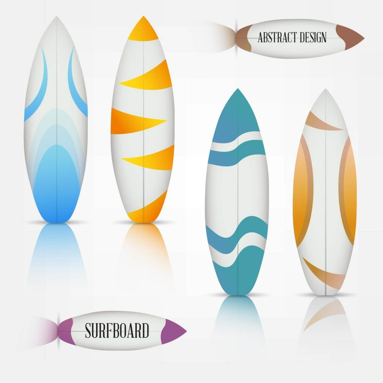 "Free vector ""Colorful surfboards set"""