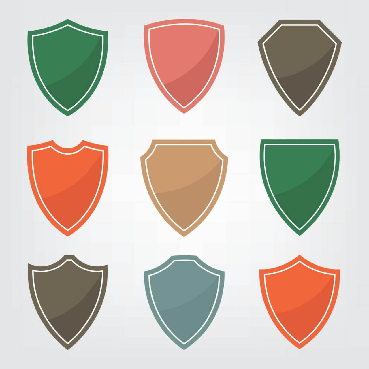 "Free vector ""Set of color shield icons"""