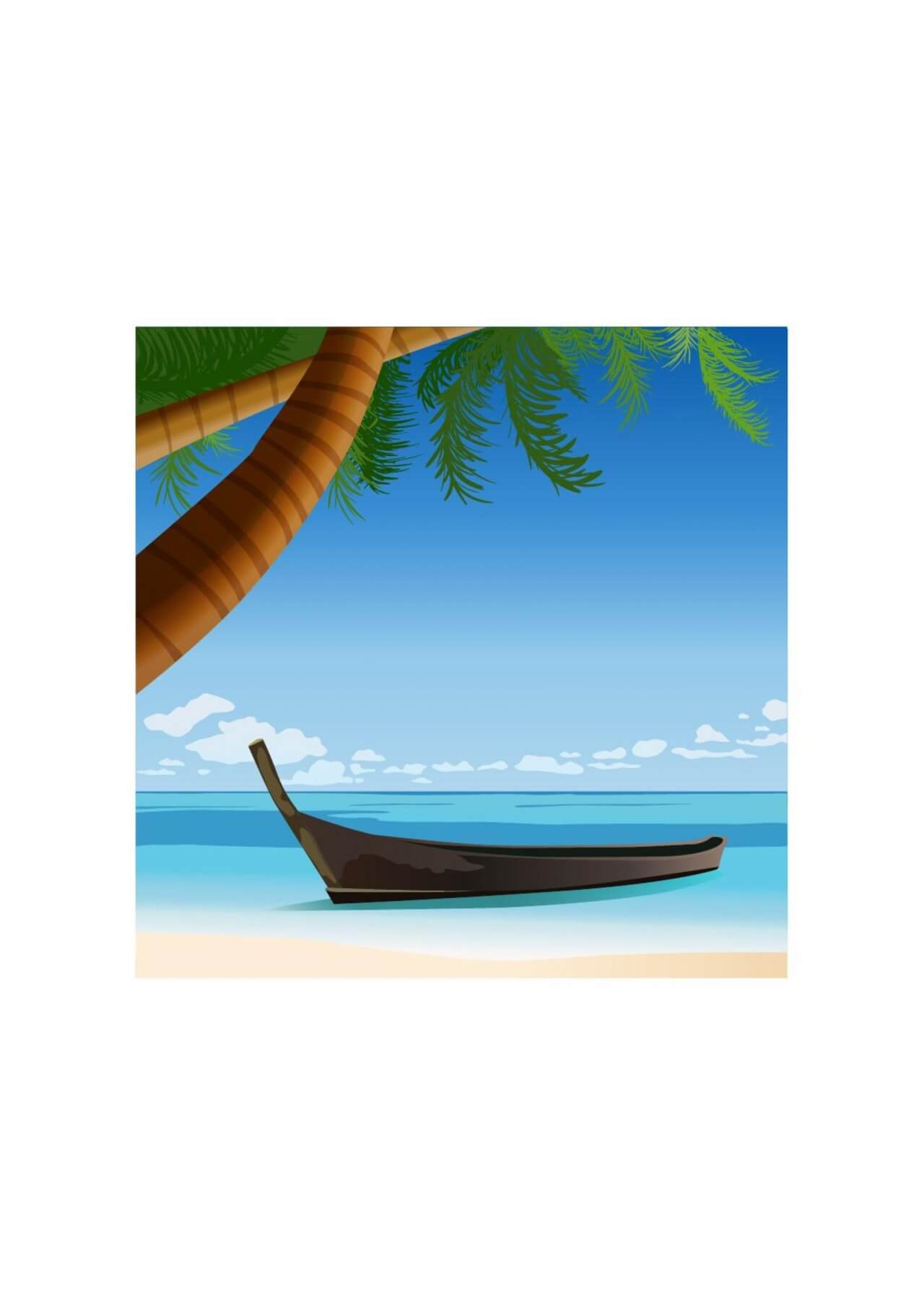 "Free vector ""Tropical beach"""