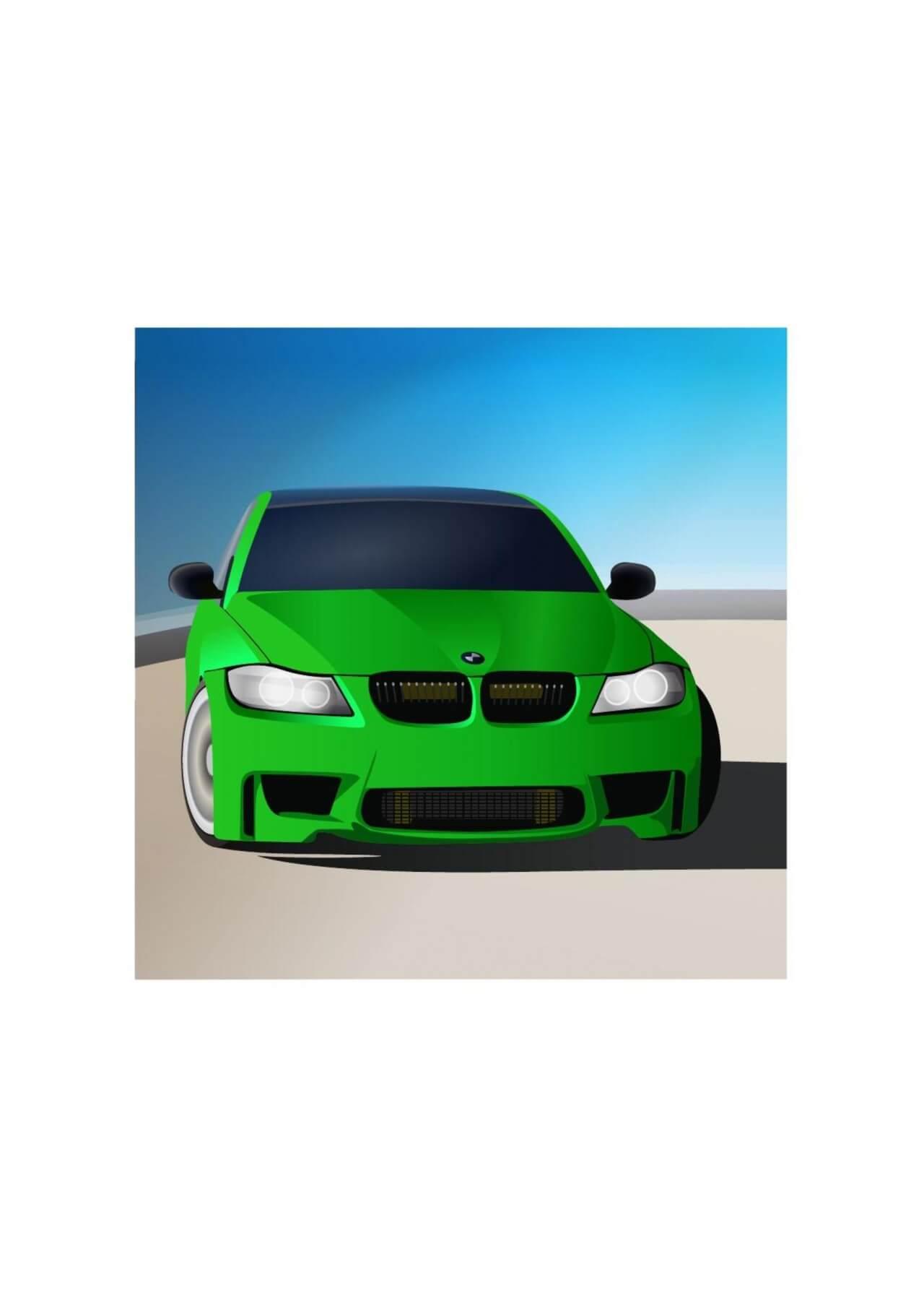 "Free vector ""Green sports car"""
