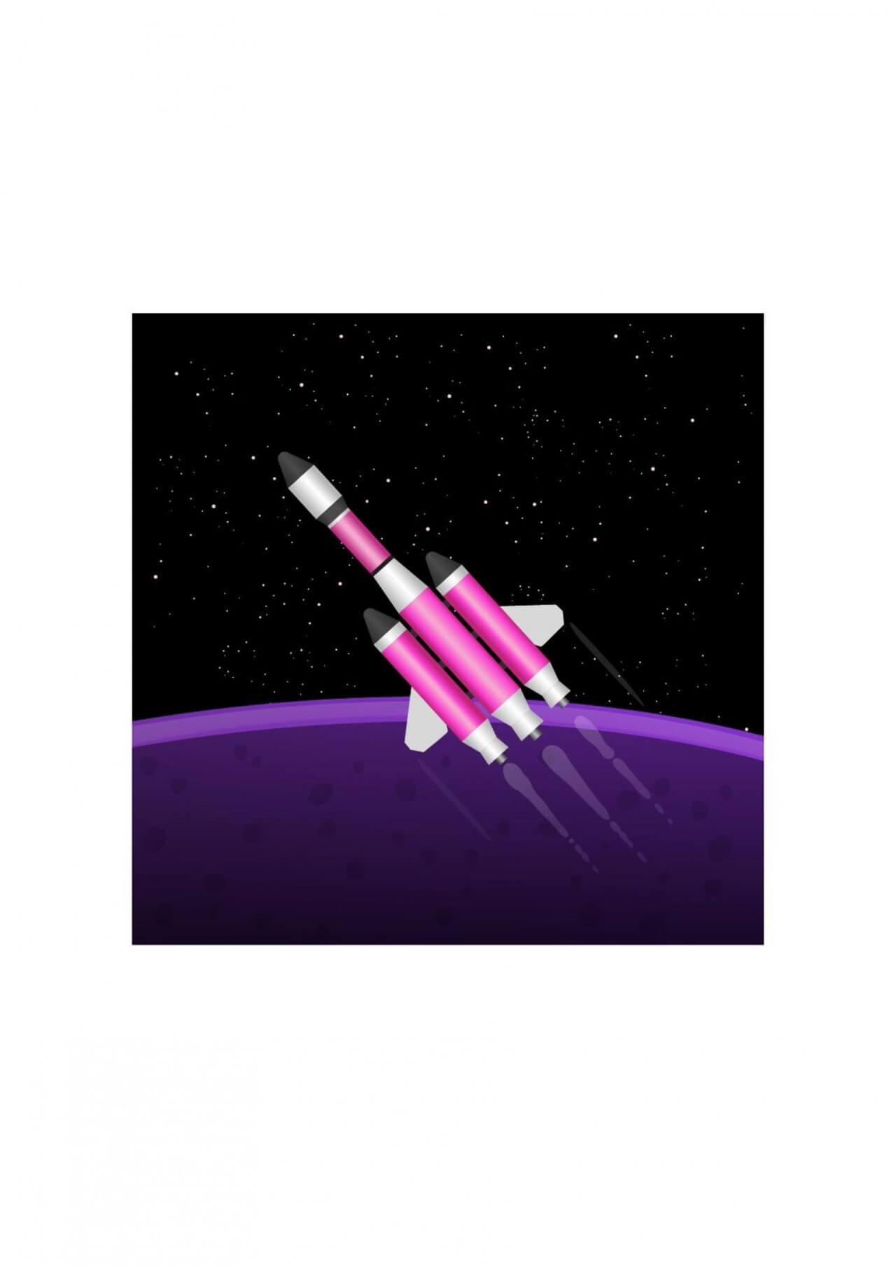 "Free vector ""Rocket in space"""
