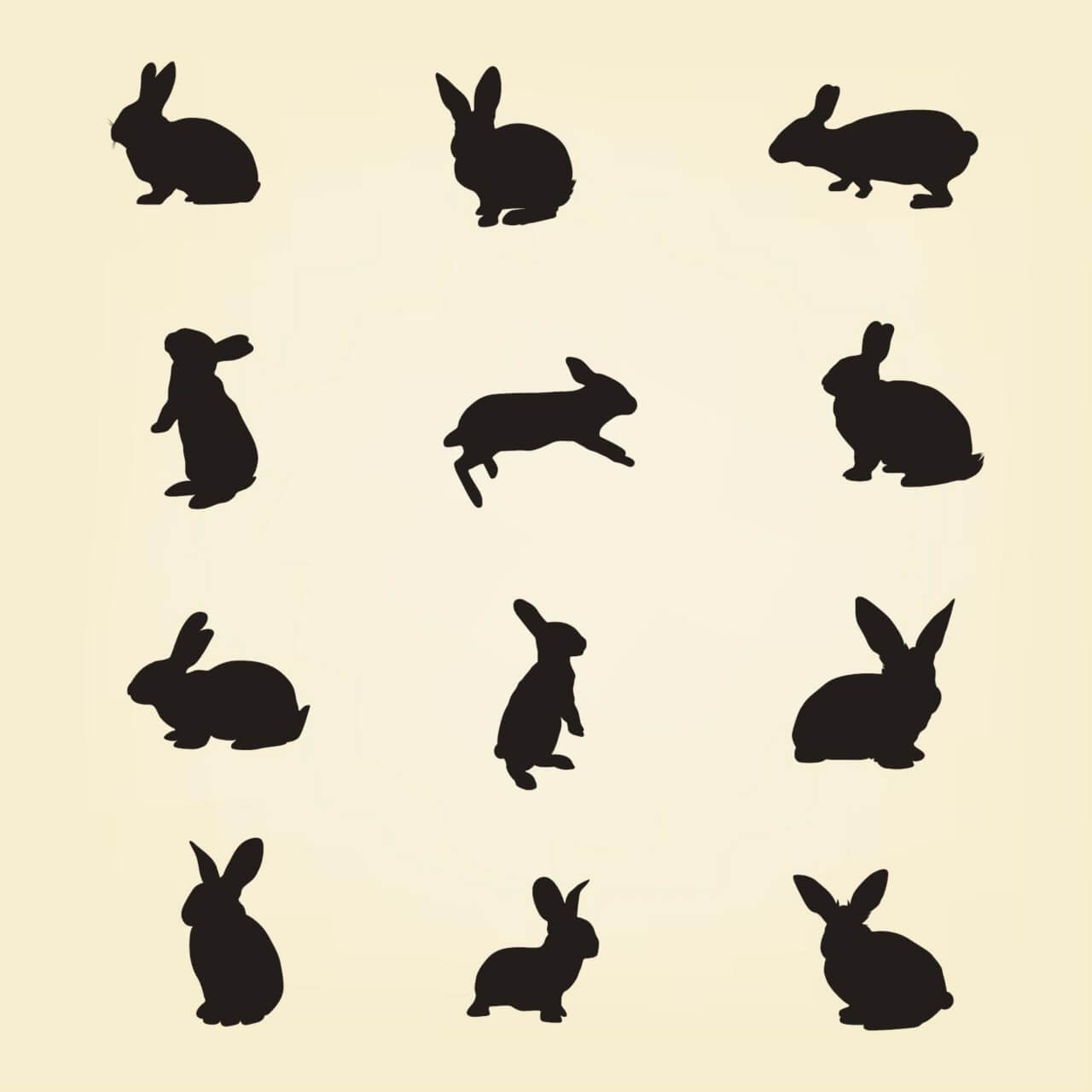 "Free vector ""Rabbit Vector Silhouette Pack"""