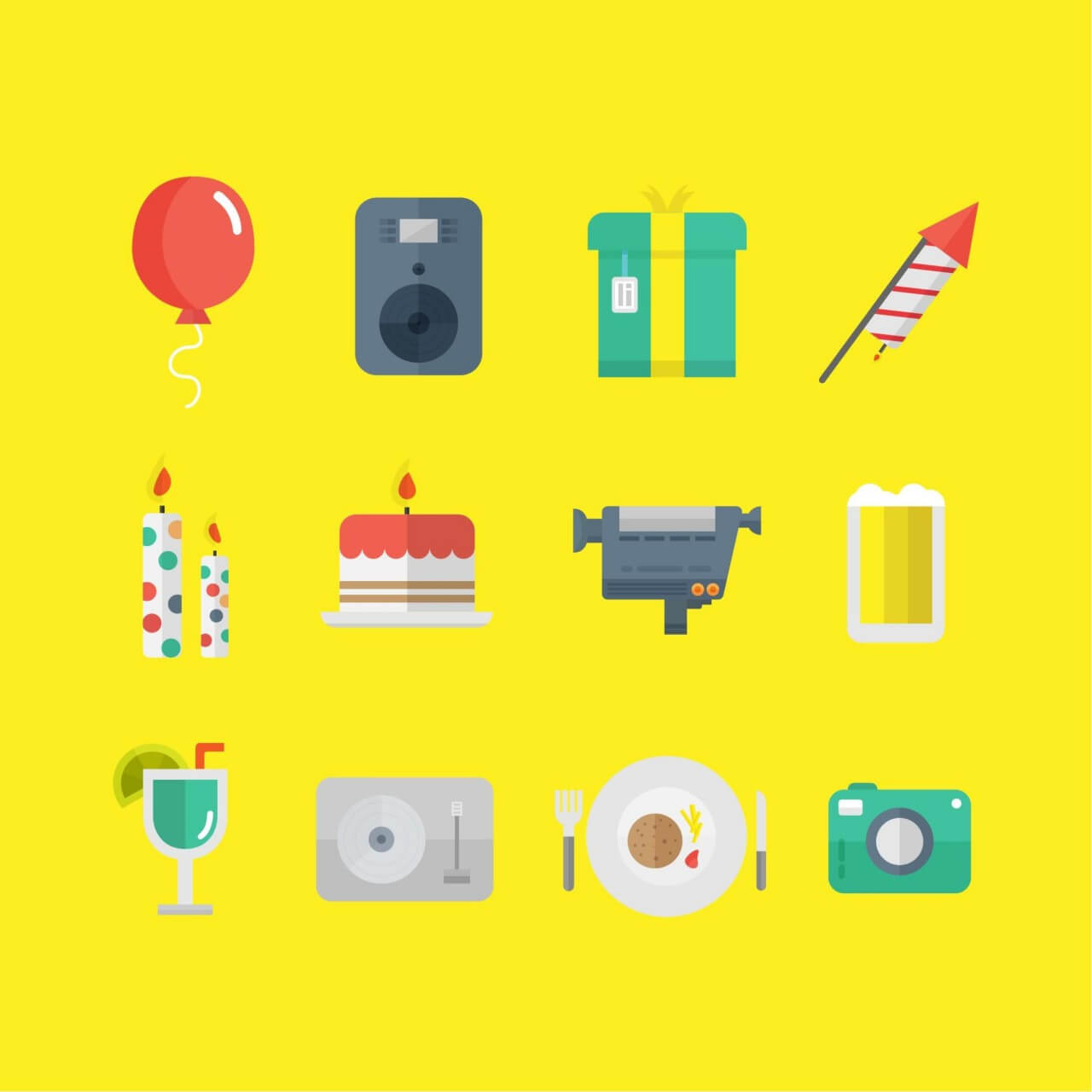 "Free vector ""Party Icons"""