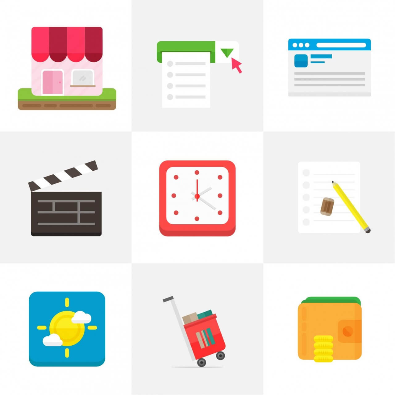 """Free vector """"Flat Icons for UI Design"""""""