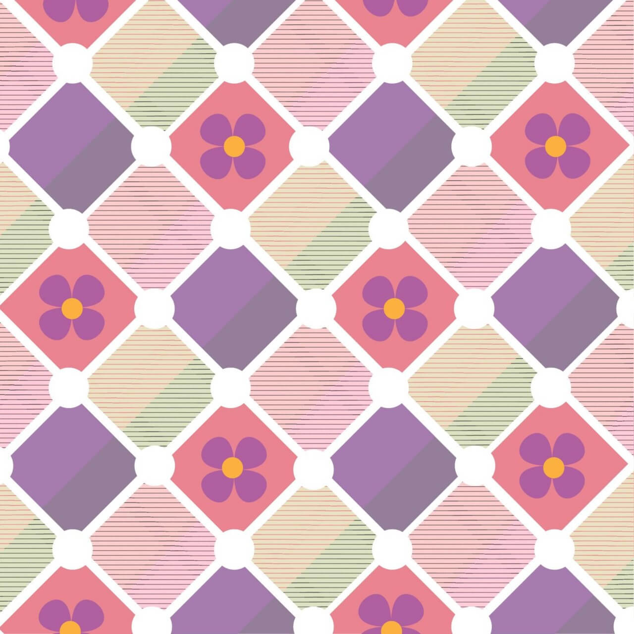 "Free vector ""Plaid background with flowers"""