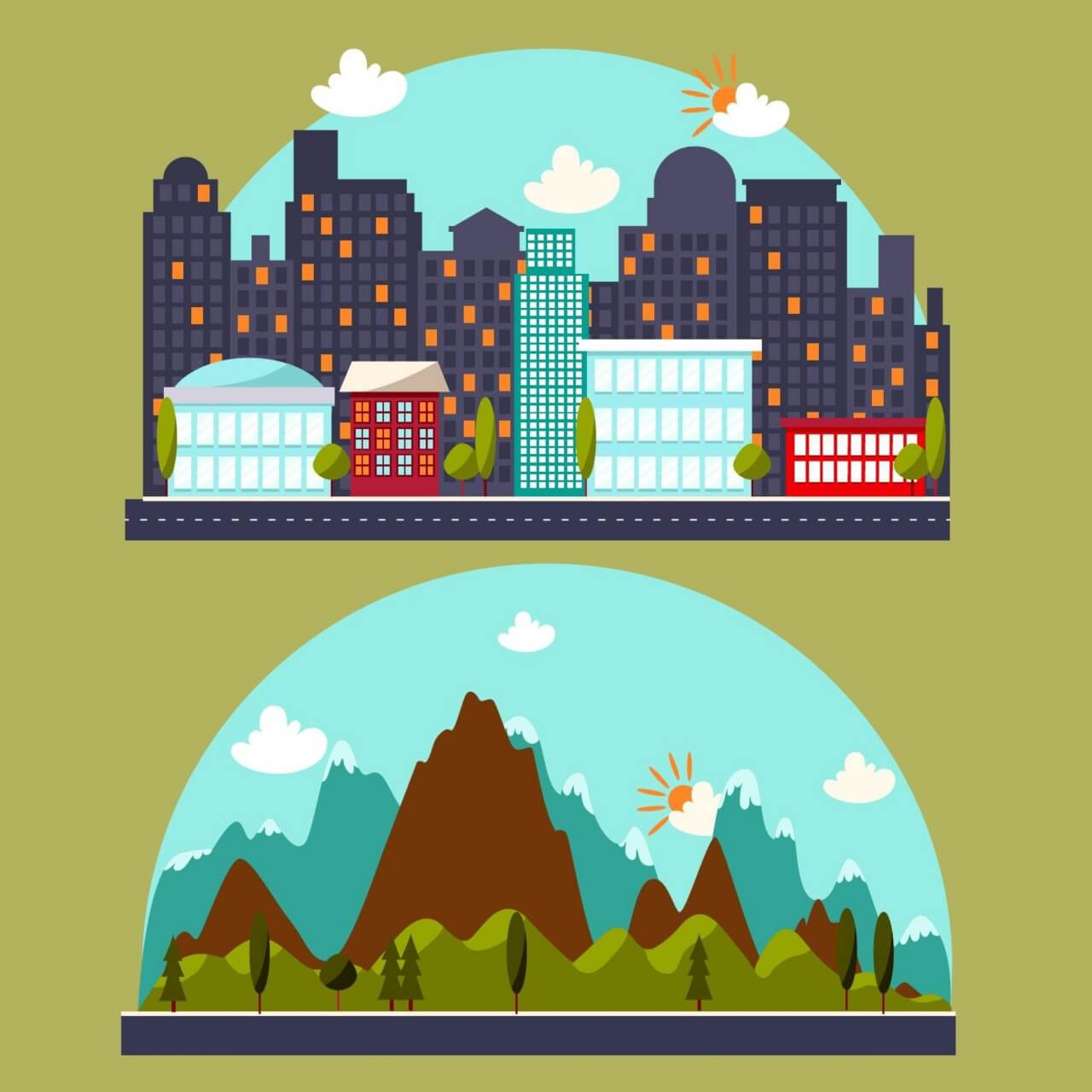 "Free vector ""Illustration with city and mountain landscape"""