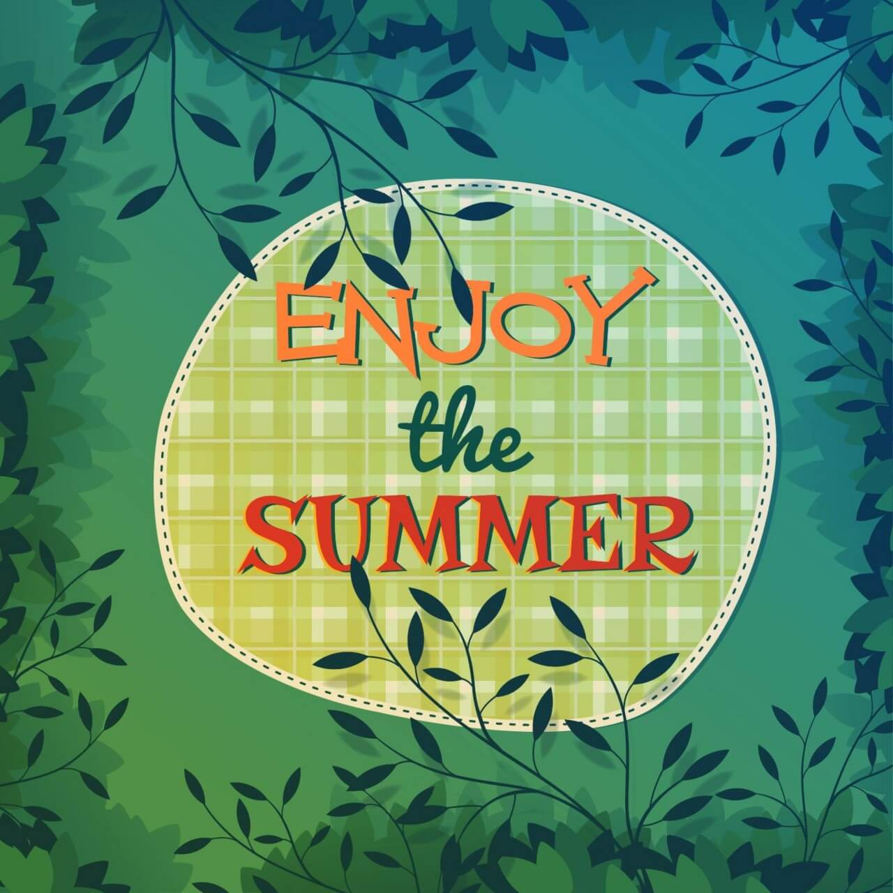 """Free vector """"Summer nature illustration with leaves"""""""