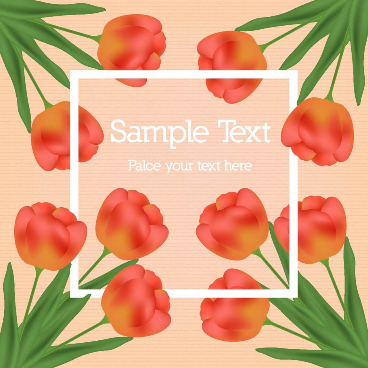 "Free vector ""Tulip vector illustration with white frame"""