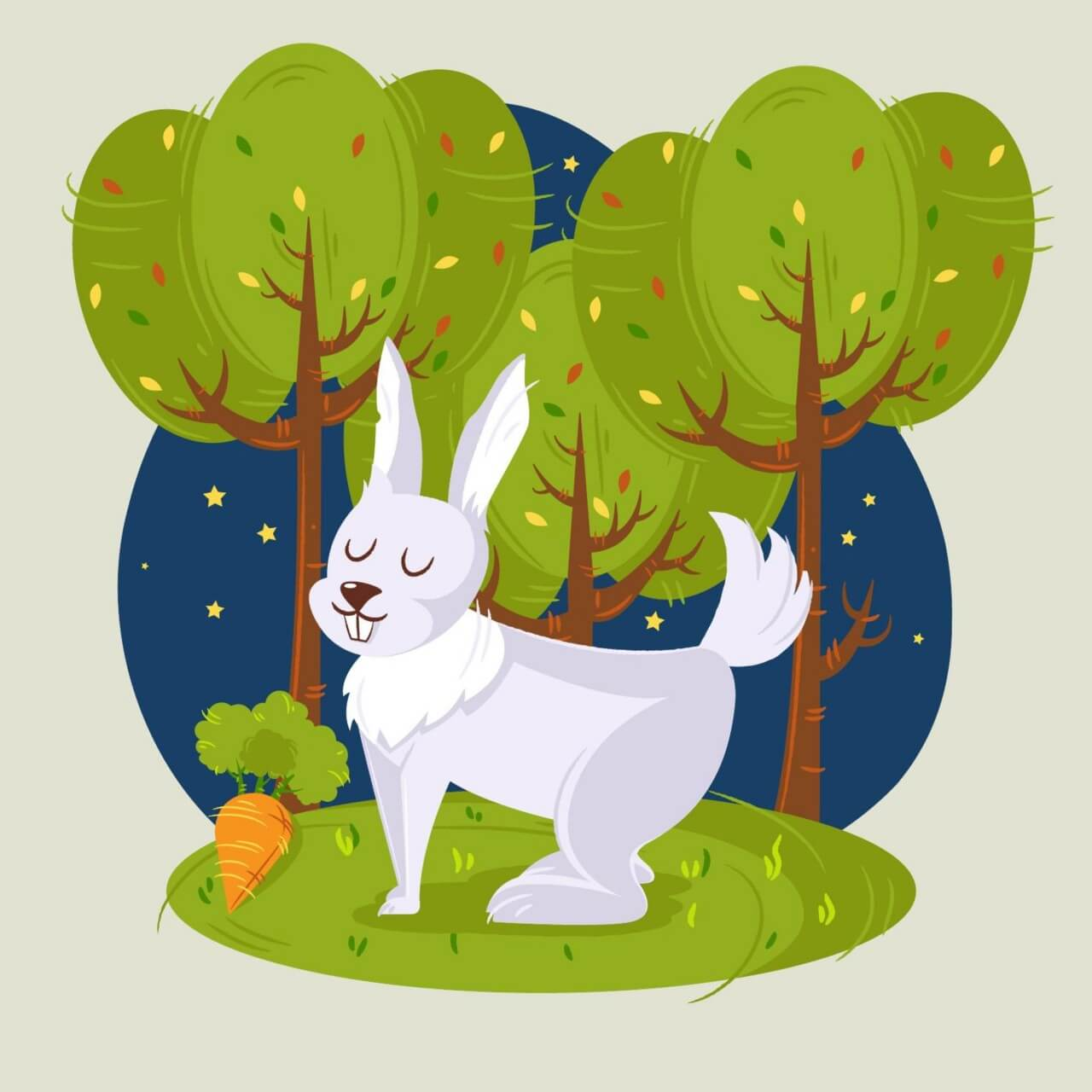 """Free vector """"Rabbit in the woods vector illustration"""""""