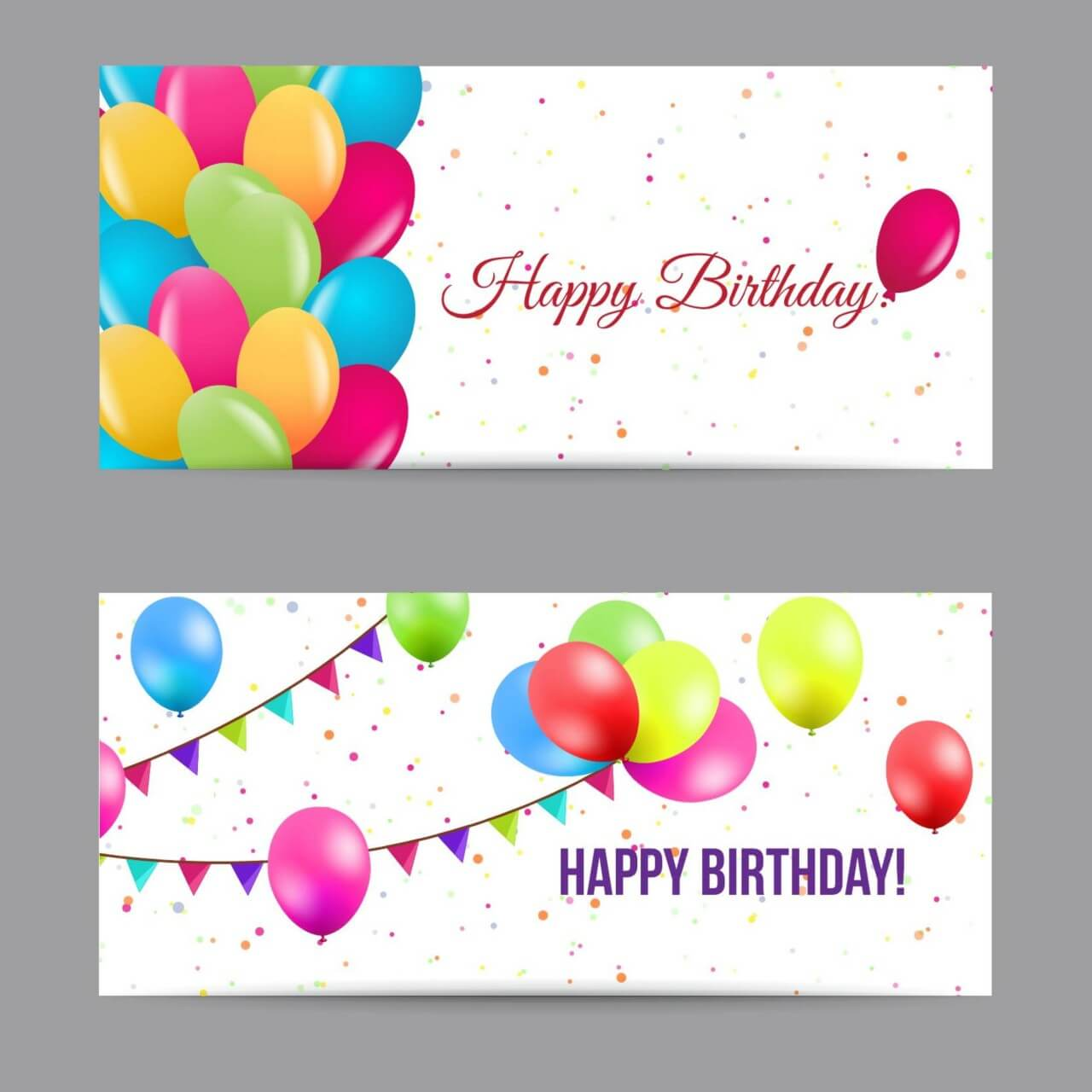 "Free vector ""Happy birthday banners"""