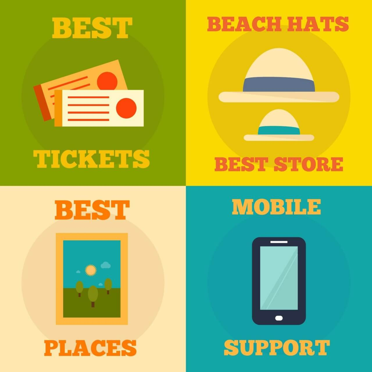 "Free vector ""Set of flat design concepts- mobile, events, summer, travel"""