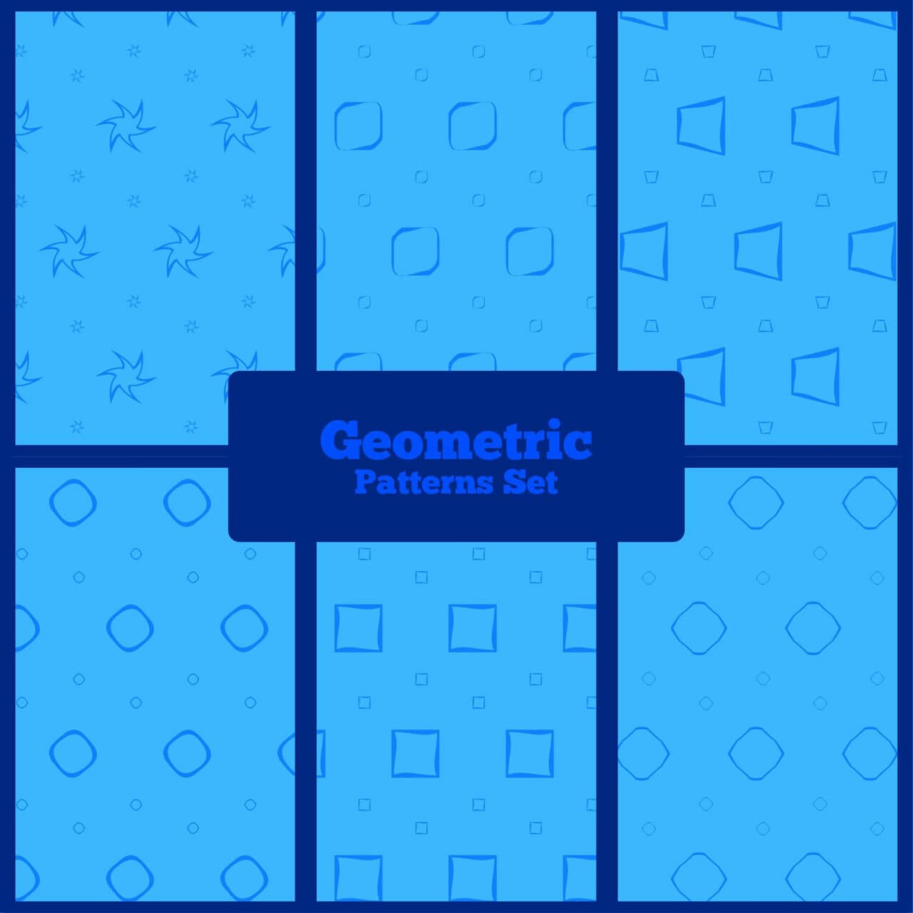 "Free vector ""Blue geometric patterns set"""