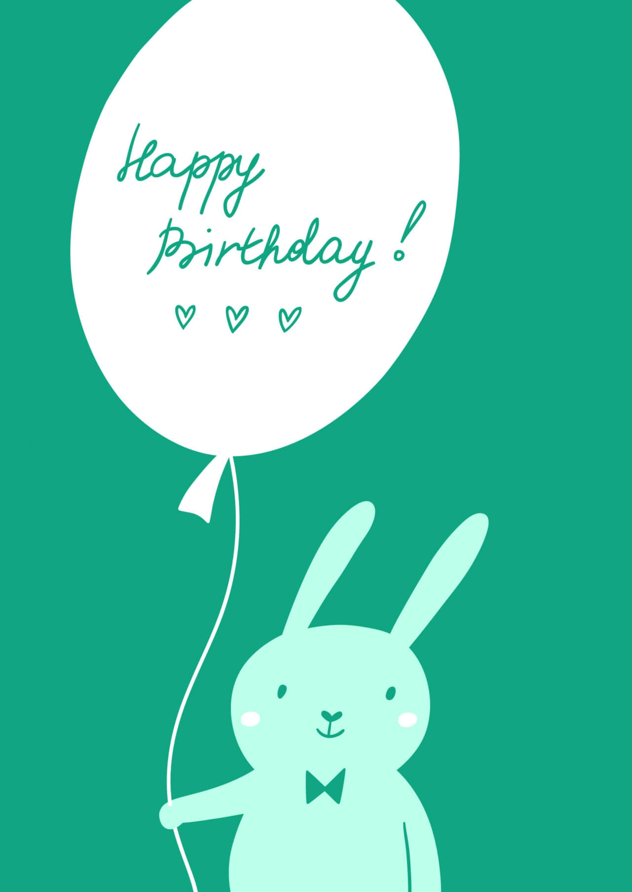 "Free vector ""Happy Birthday card with cute bunny"""