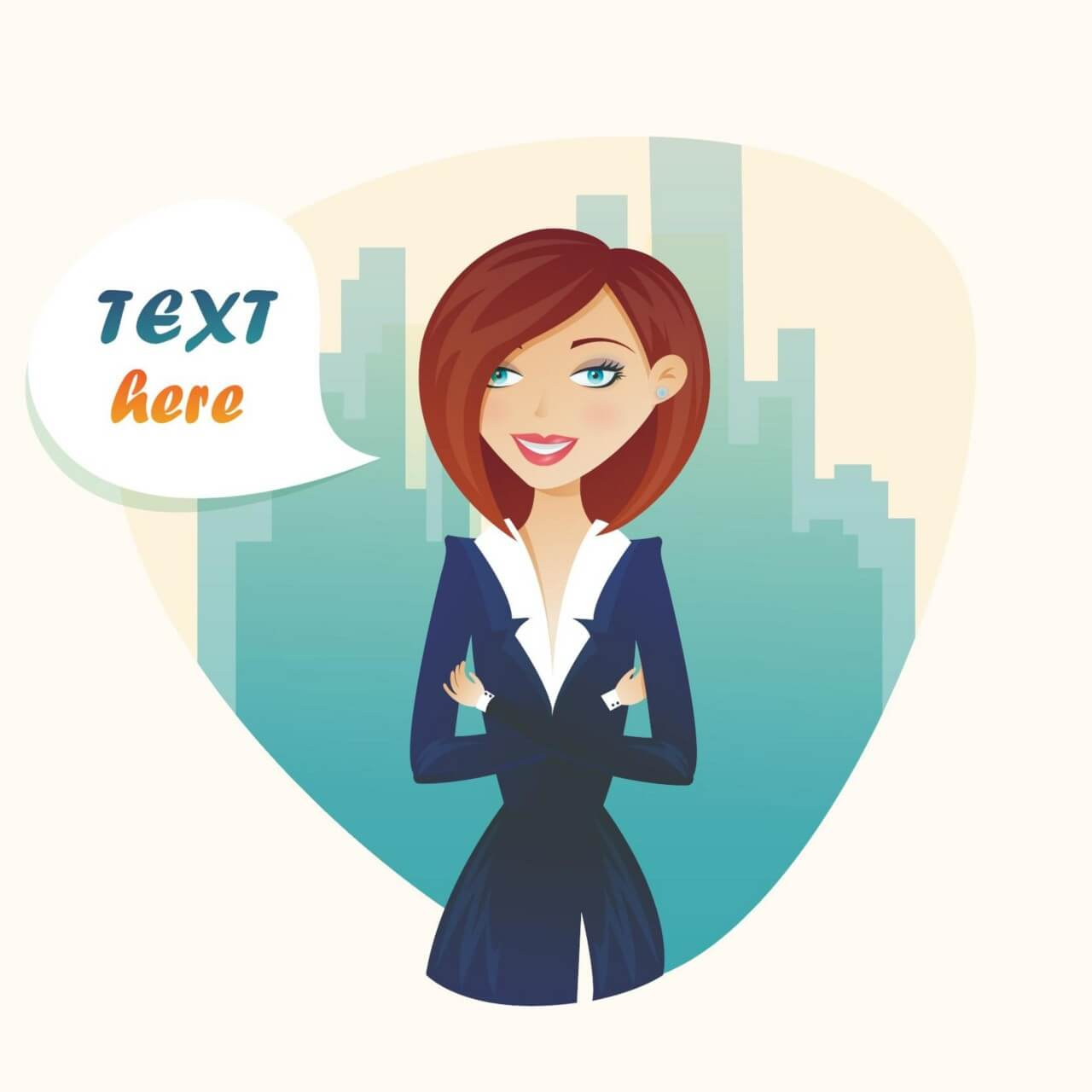 "Free vector ""Business woman and city flat landscape"""