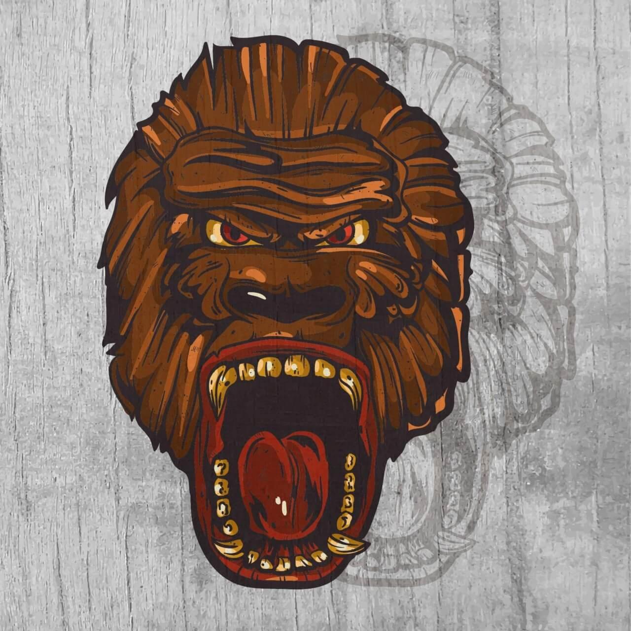 "Free vector ""Ape head mascot on wood texture """