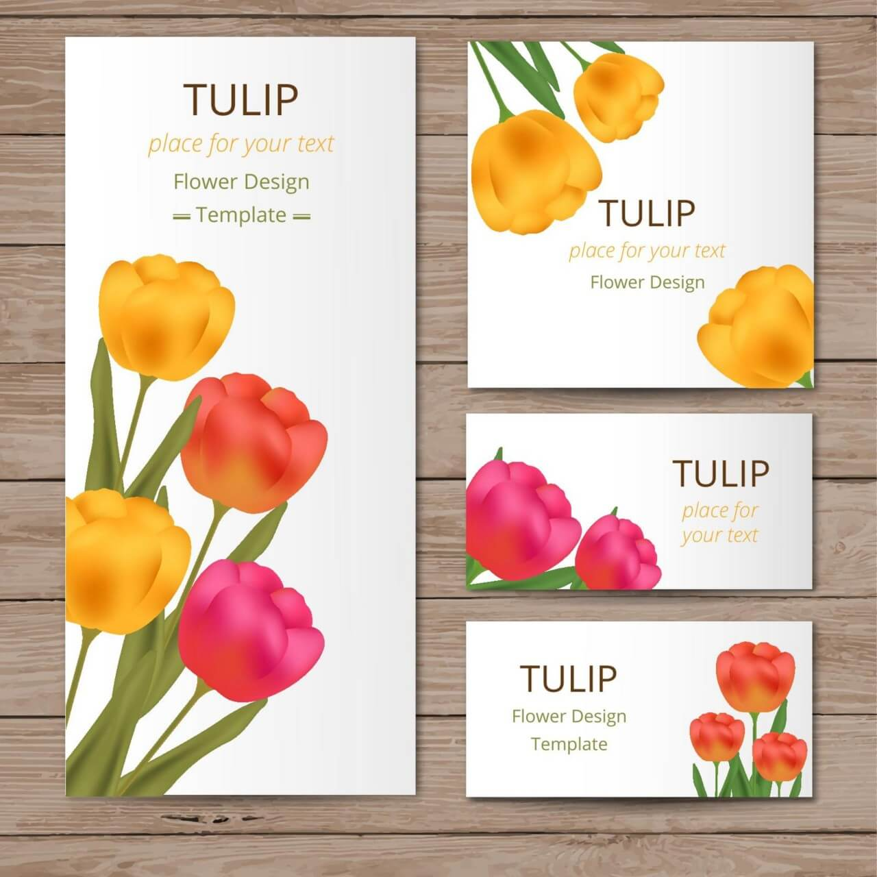 "Free vector ""Floral cards with tulips on wood texture"""