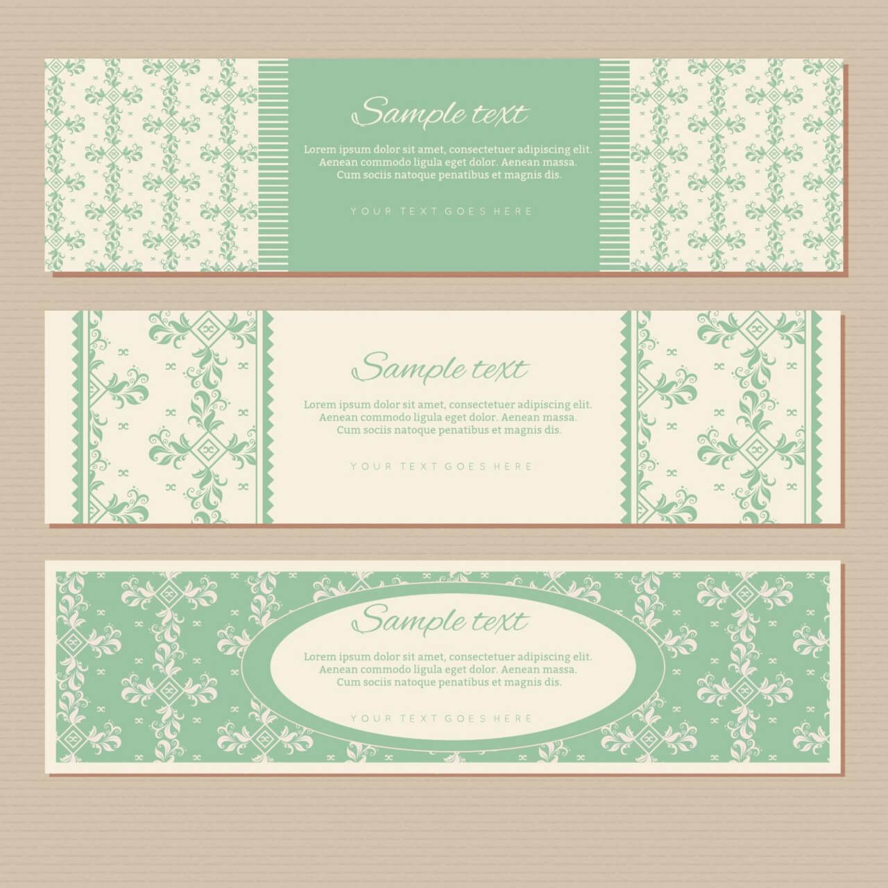 """Free vector """"Vintage floral banners"""""""