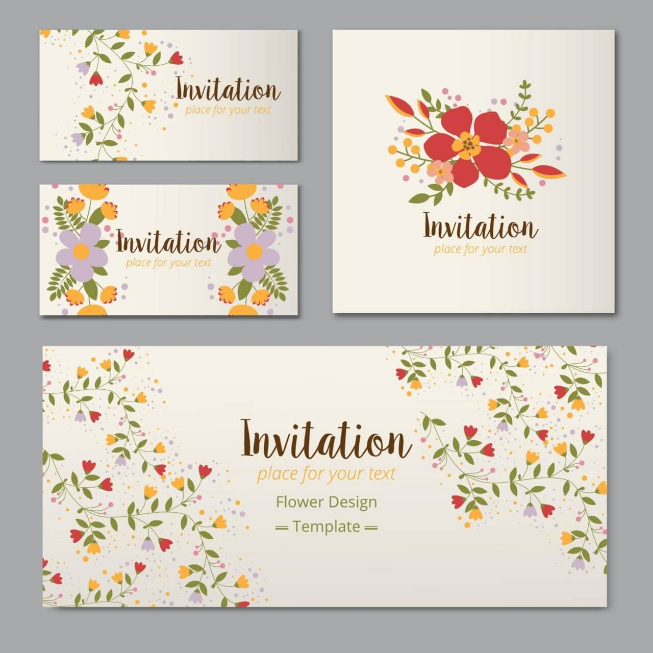 """Free vector """"Floral cards """""""