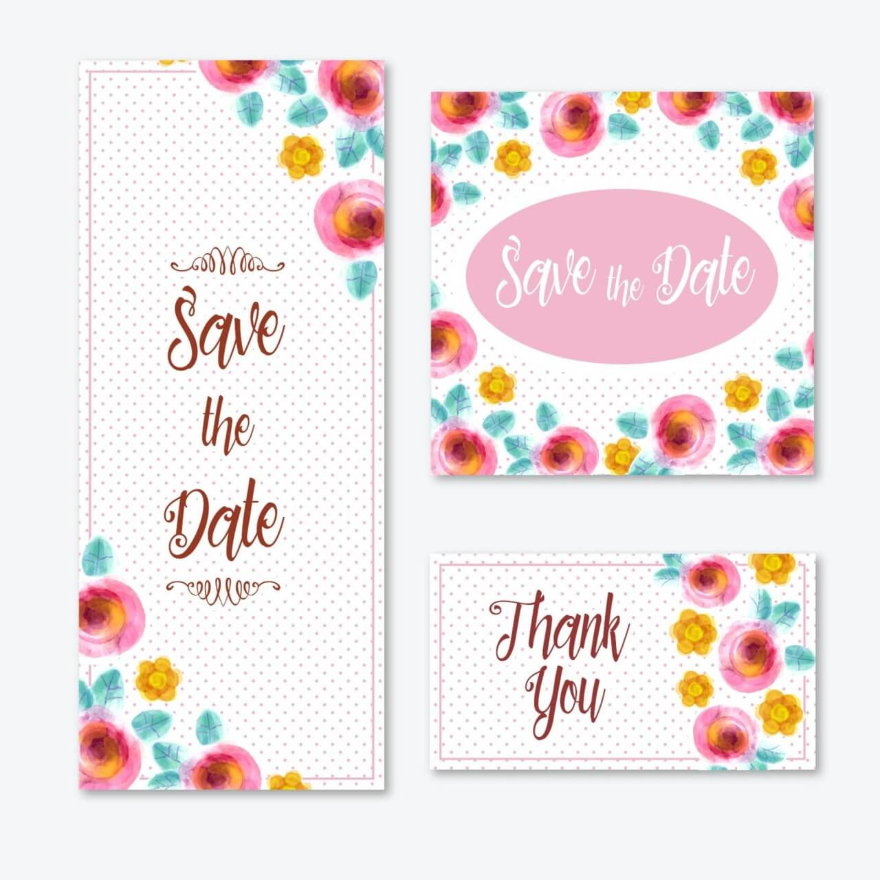 "Free vector ""Watercolor cards with flowers """
