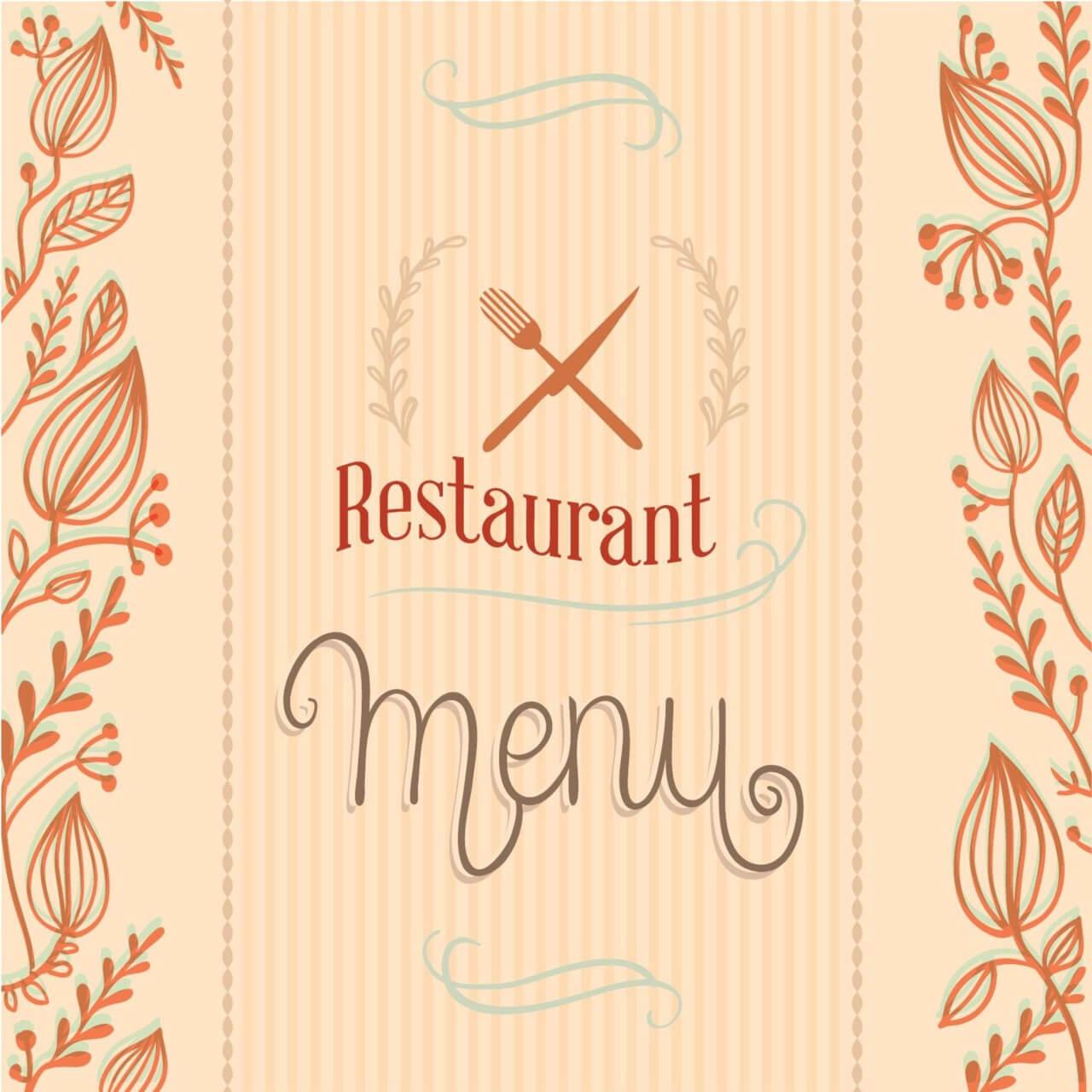 "Free vector ""Restaurant menu with florals"""
