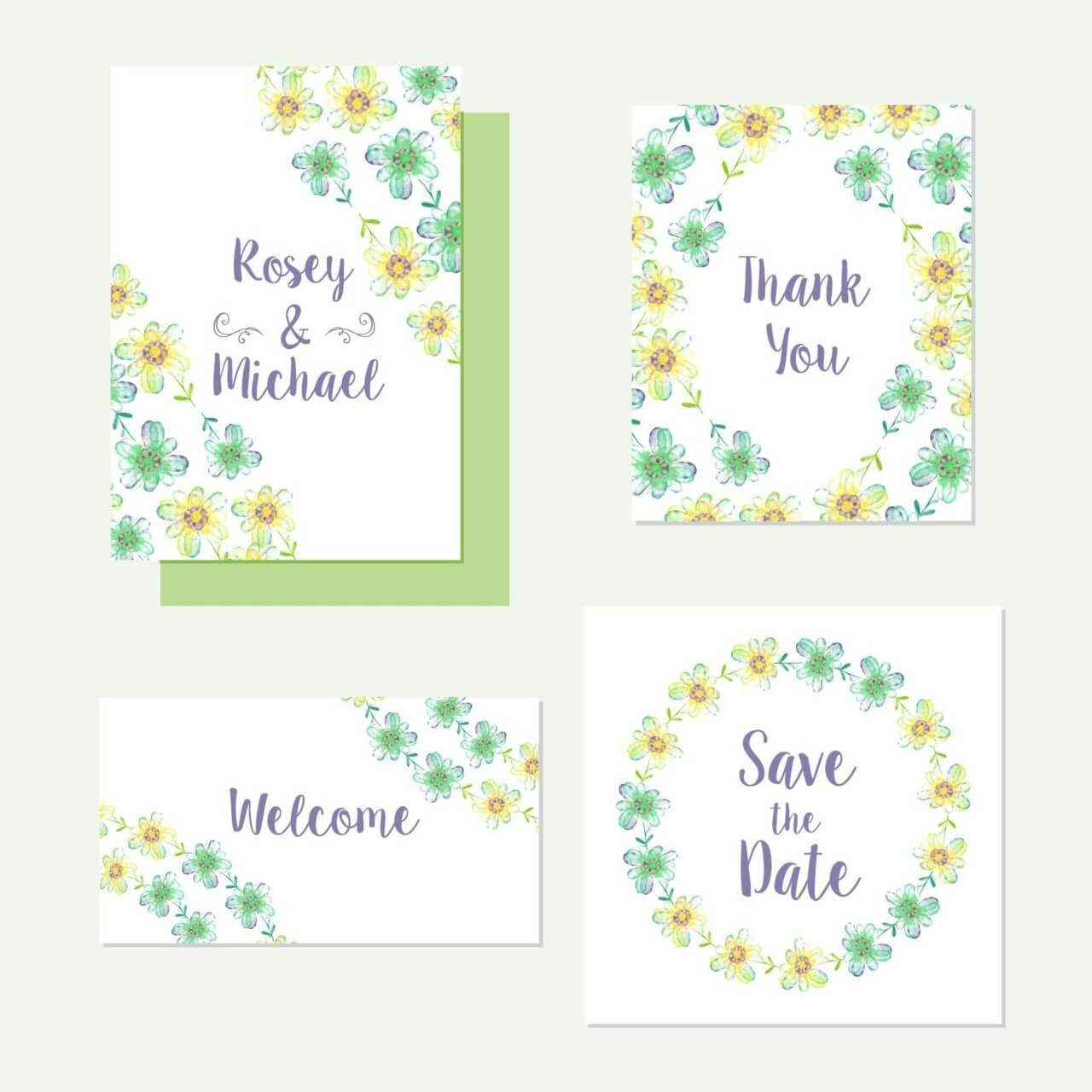 """Free vector """"Floral cards"""""""