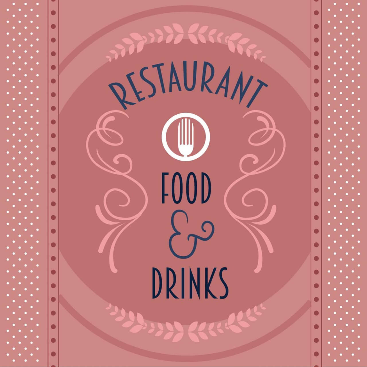 "Free vector ""Restaurant card with floral decorations"""